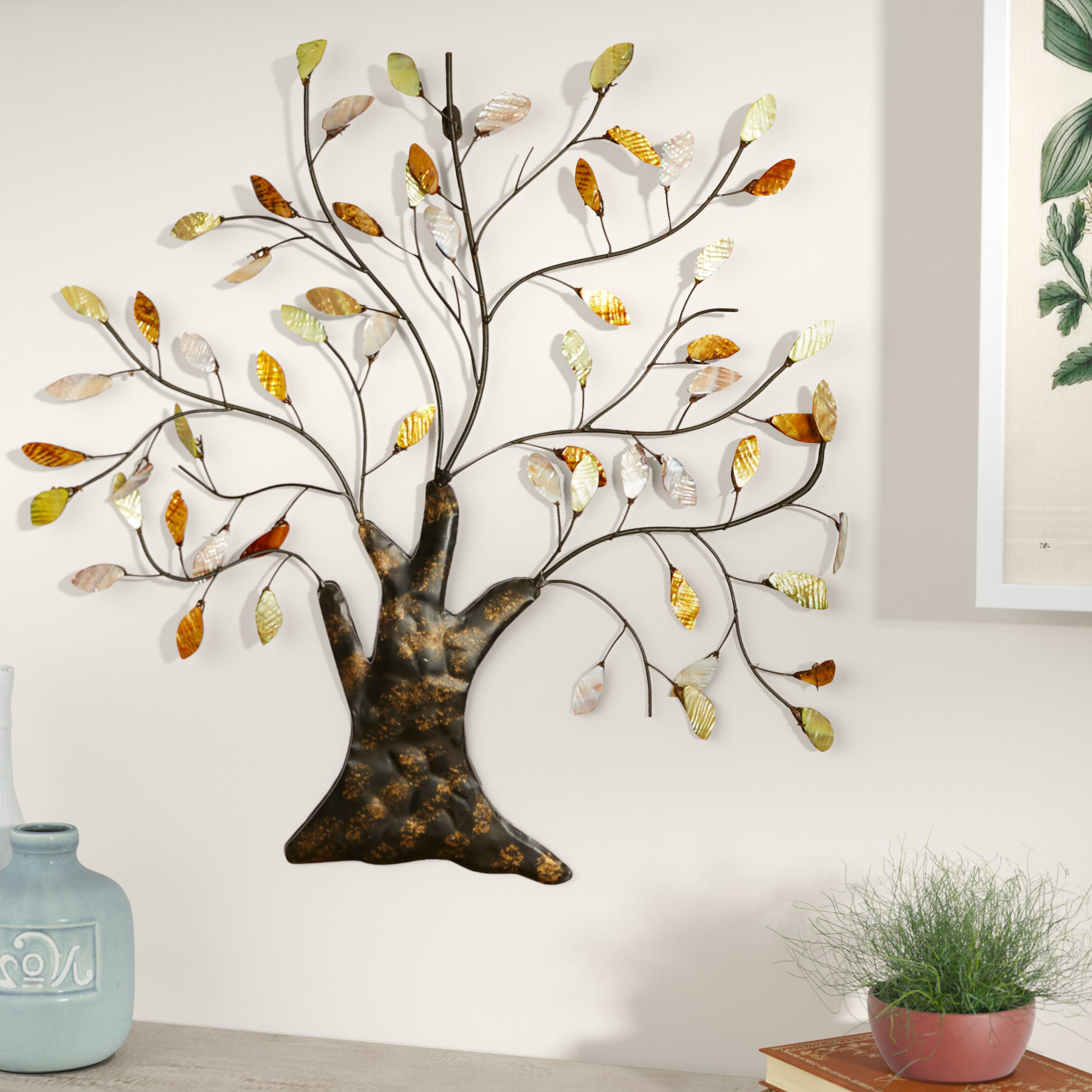 Abstract Tree Wall Décor By Winston Porter With Most Popular Tree Shell Leaves Sculpture Wall Décor (View 9 of 20)