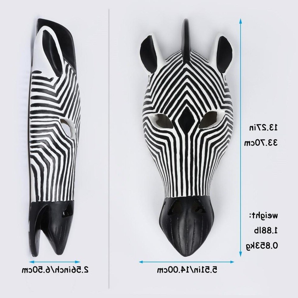 African Tribal Zebra Head Mask Savannah Wall Plaque Sculpture Wall Hanging Mask Decoration Within Famous Animal Mask Of The Savannah Zebra Wall Décor (View 20 of 20)