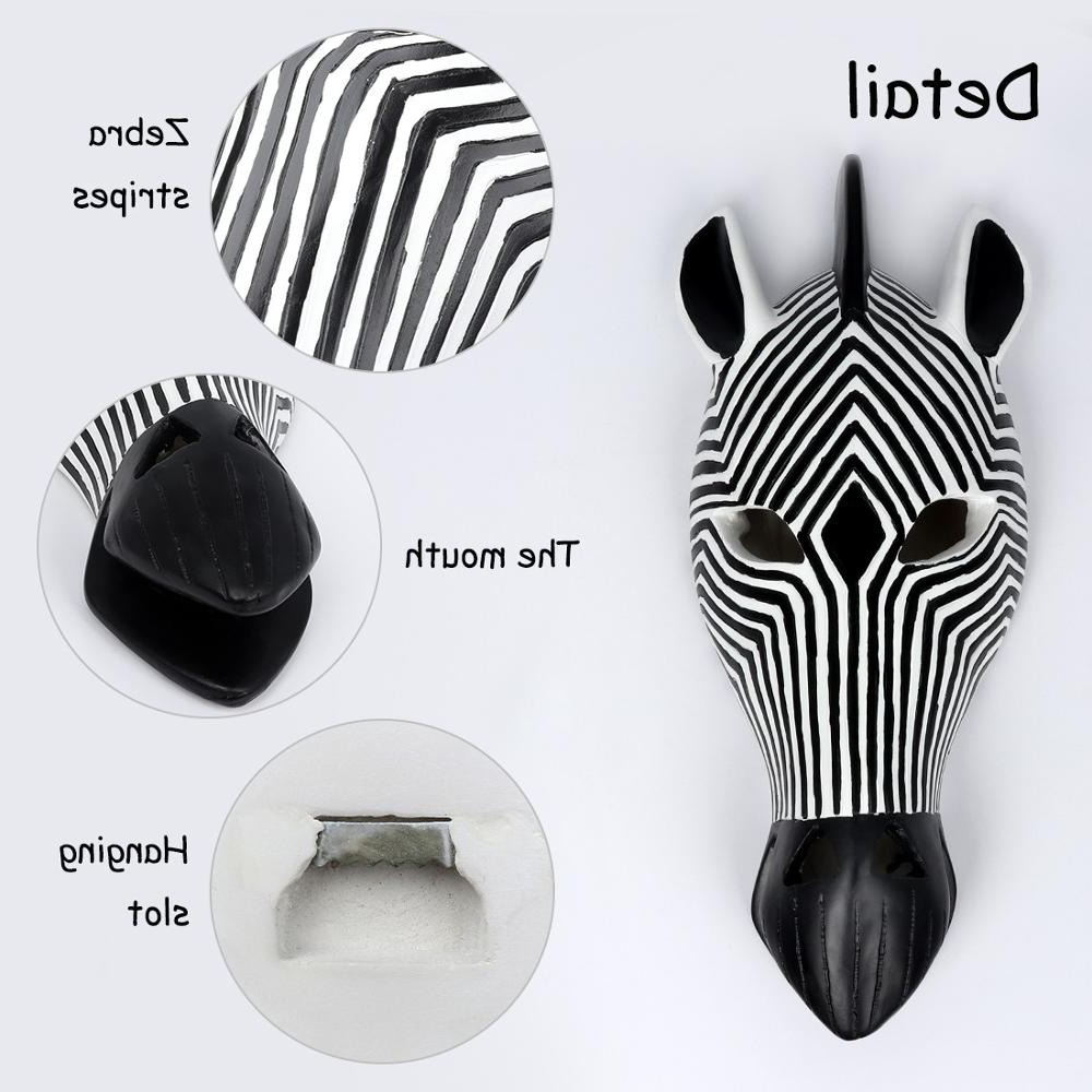 African Tribal Zebra Head Mask Savannah Wall Plaque Sculpture Wall Hanging Mask Decoration Within Well Known Animal Mask Of The Savannah Zebra Wall Décor (View 17 of 20)