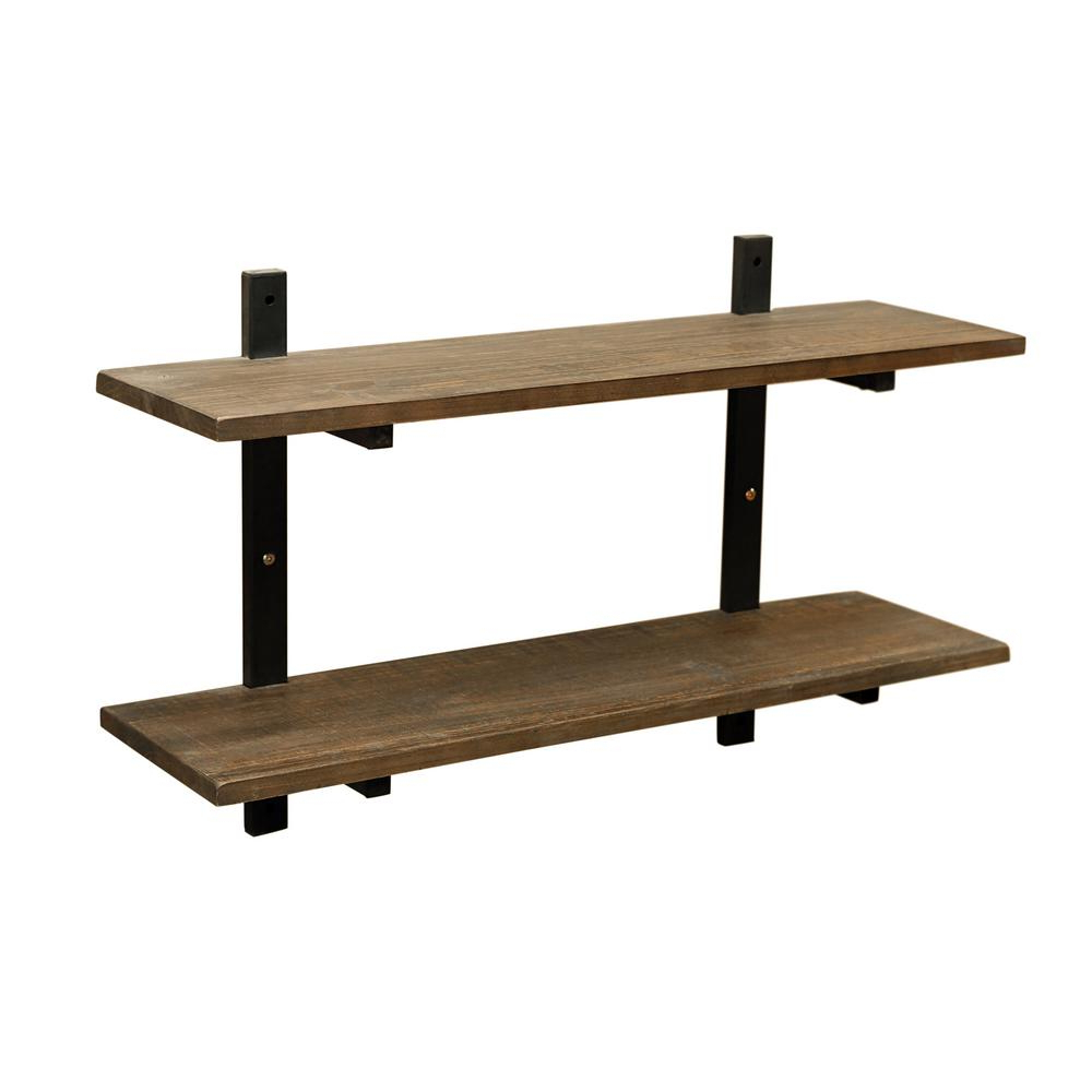 "Alaterre Furniture Pomona 10"" D X 36"" W X 22"" H Natural Metal And Solid Wood Wall Shelf Amba5720 – The Home Depot With Trendy Blended Fabric The Pomona Wall Hangings (View 20 of 20)"
