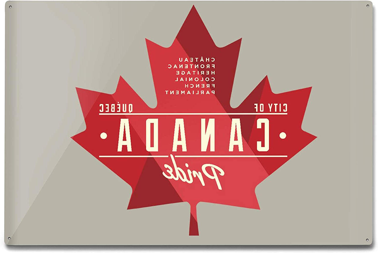 Aluminum Maple Leaf Wall Decor Within Well Known Amazon: Quebec, Canada Pride, Red Maple Leaf Typography (View 19 of 20)