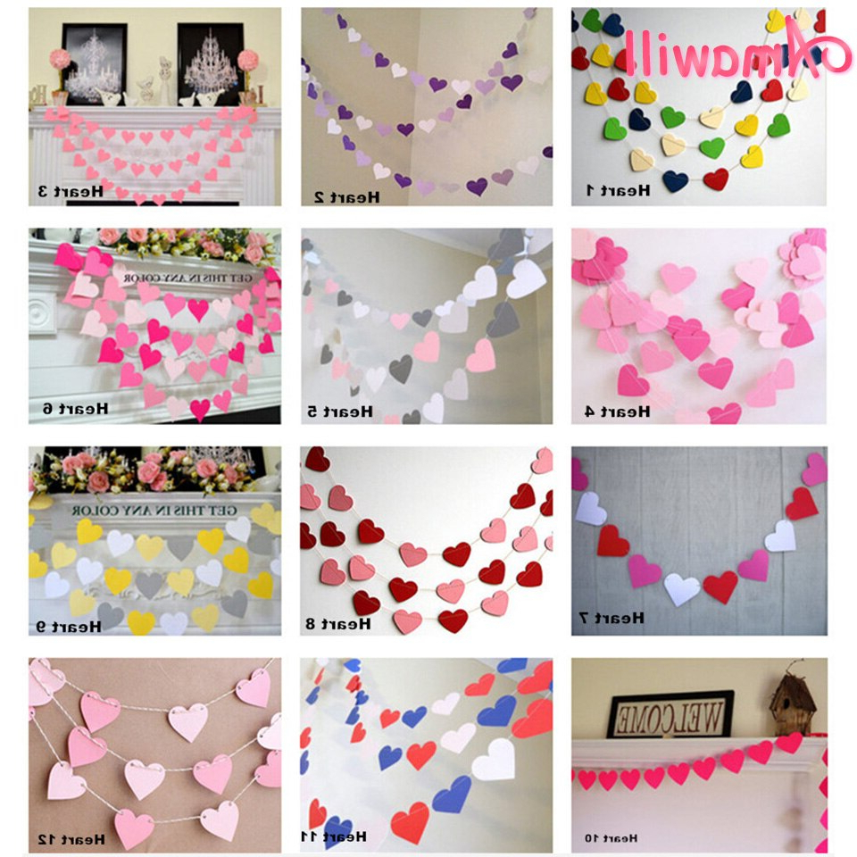 """Amawill 1 Meter Love Heart Shaped Garland Paper Banner For Wedding Decoration Marriage Room Wall Hanging Valentines Day Decor 6d For Well Liked Heart Shaped """"home"""" Sign Wall Décor (View 19 of 20)"""