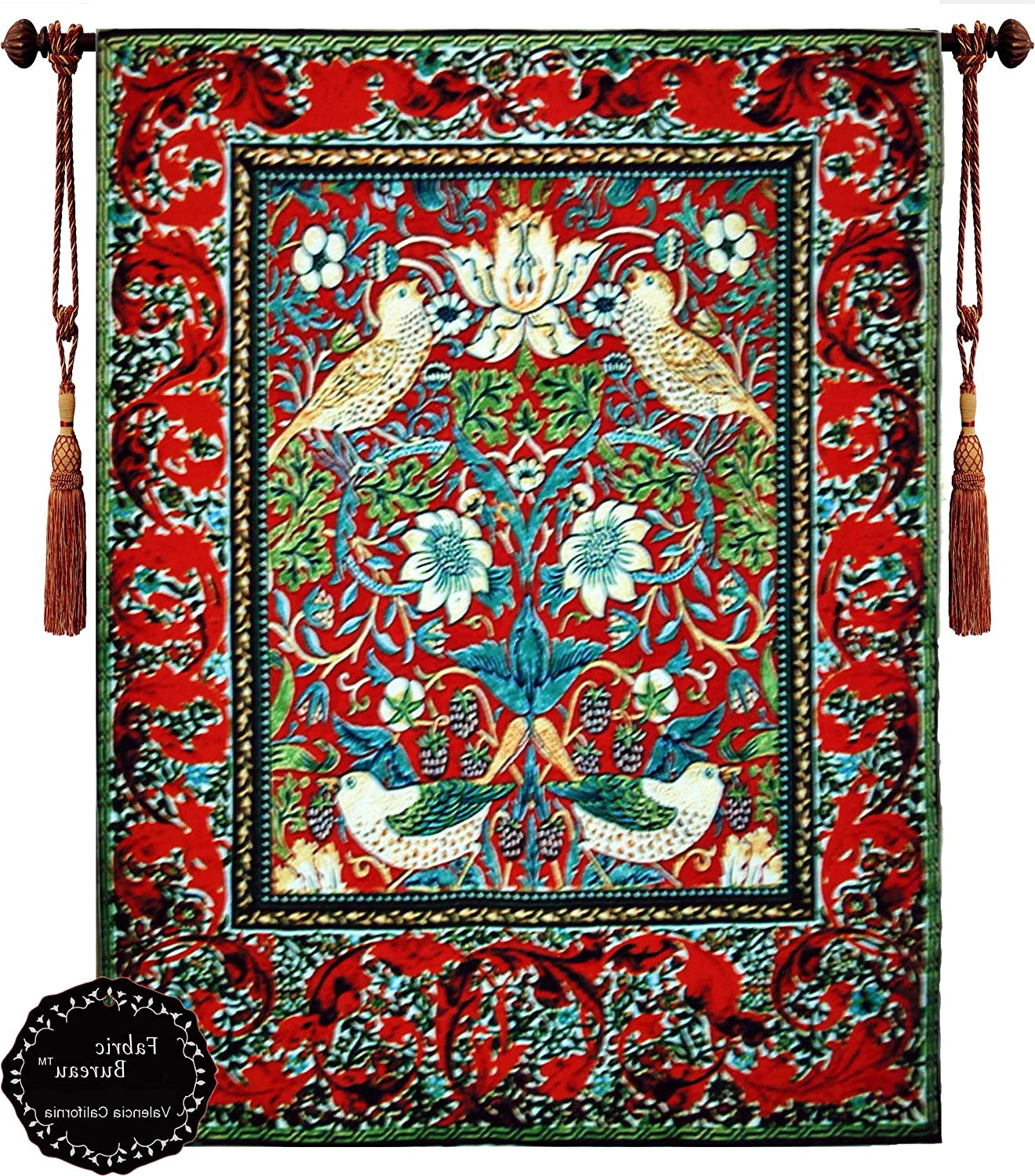 Amazon: Beautiful Strawberry Thief Bird Flower Pertaining To Fashionable Birds Face To Face I European Tapestries (View 9 of 20)