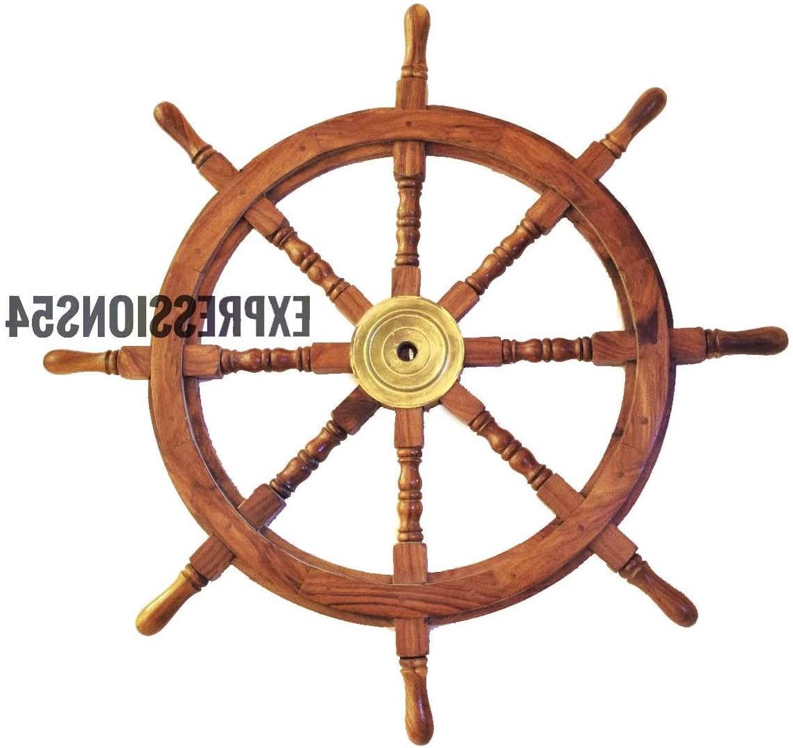 Amazon: Expressions Enterprises Wooden Ship's Wheel Regarding Popular Brown/brass Wood Ship Wheel Wall Décor (View 3 of 20)