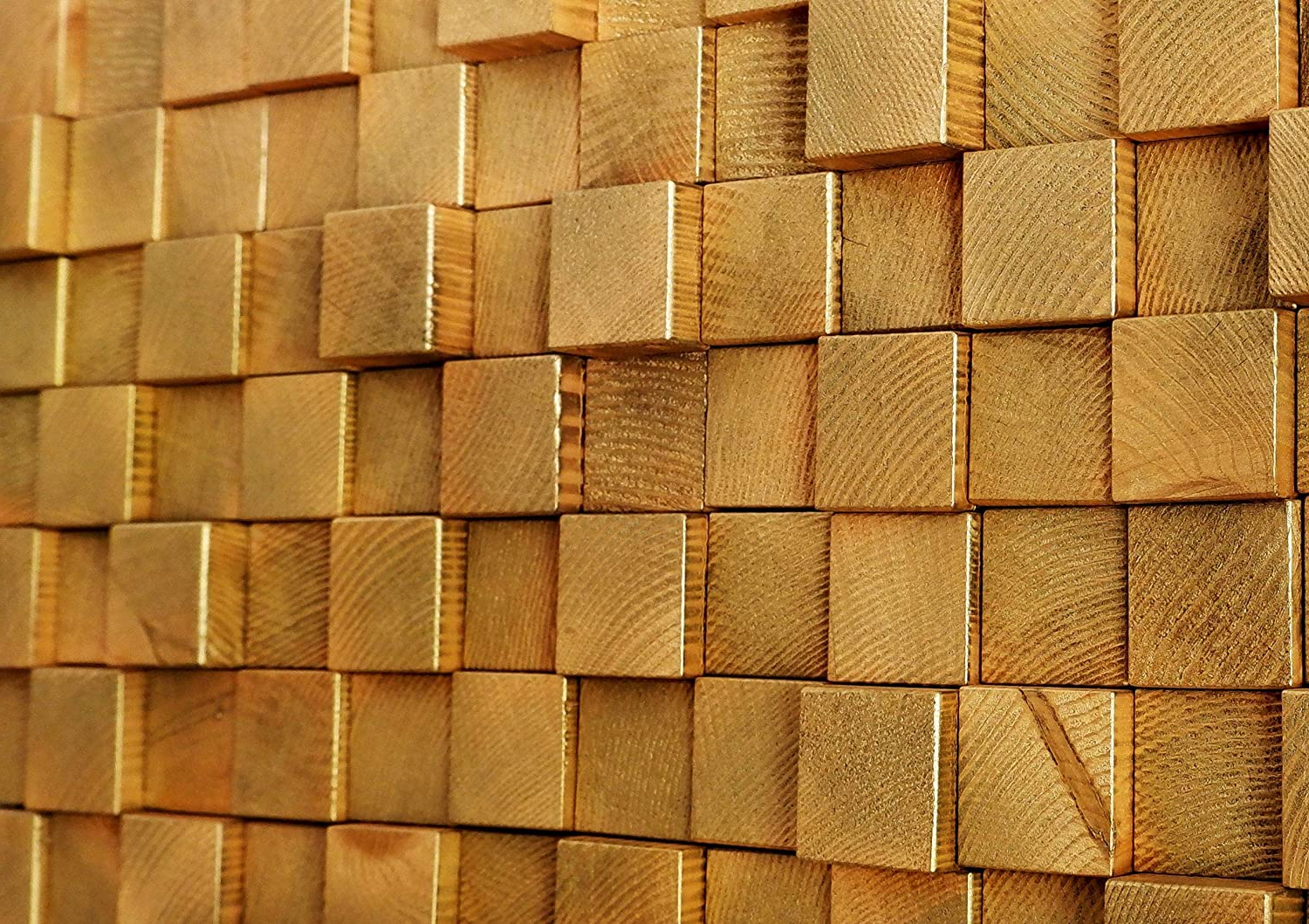 Amazon: Golden Wall Art, Wood Wall Art, Pine Wood Wall Within Best And Newest Square Wood Wall Décor (View 4 of 20)