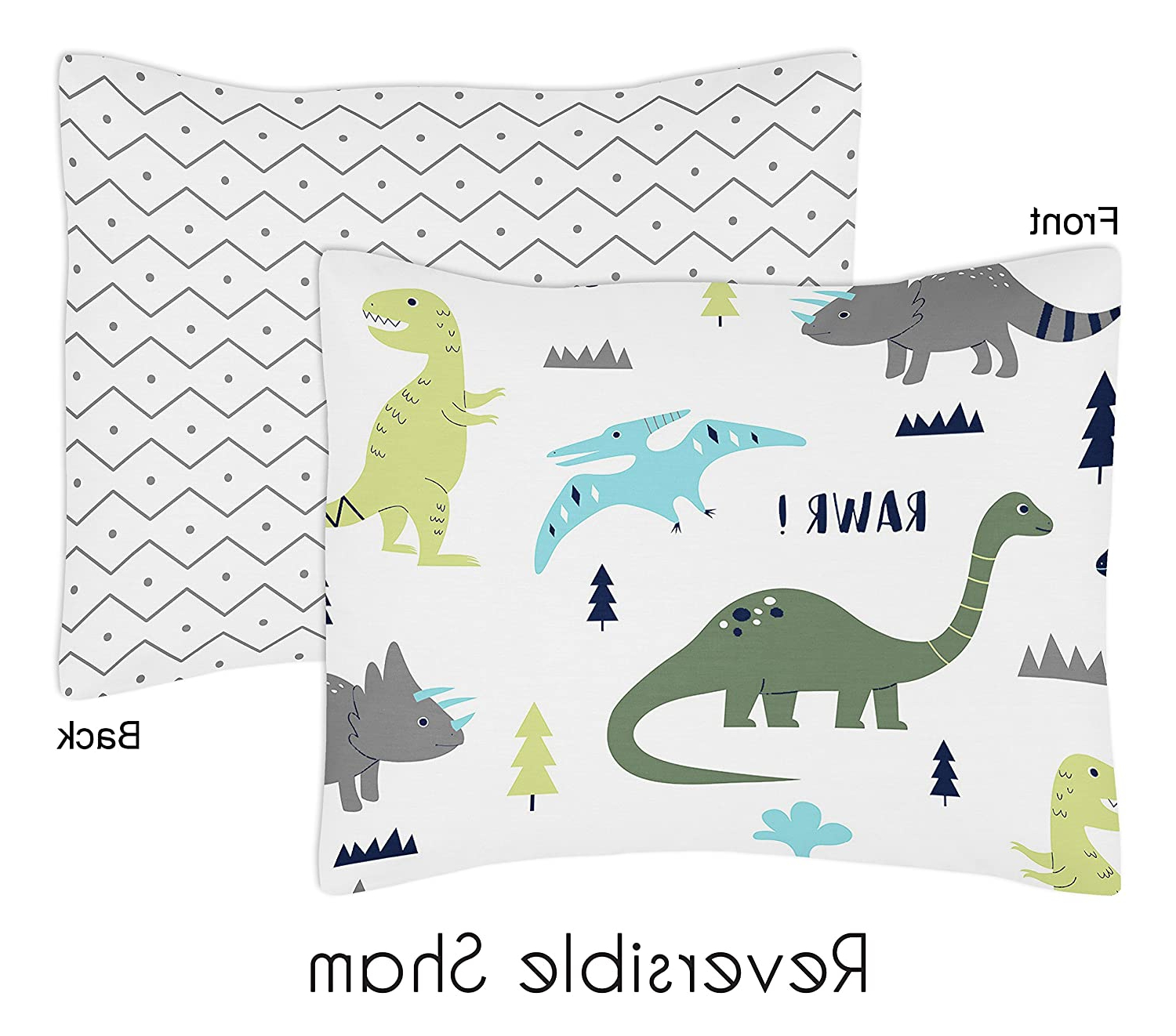 Amazon : Navy Blue And Green Modern Dinosaur Boys Or Regarding Newest Blended Fabric Mod Dinosaur 3 Piece Wall Hangings Set (View 3 of 20)
