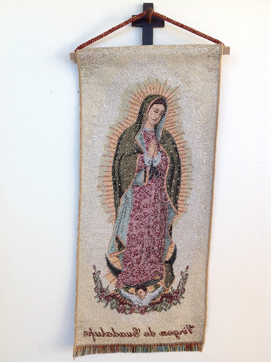 Amazon: Our Lady Of Guadalupe Wall Hanging Tapestry Throughout Recent Blended Fabric Our Lady Of Guadalupe Wall Hangings (View 2 of 20)