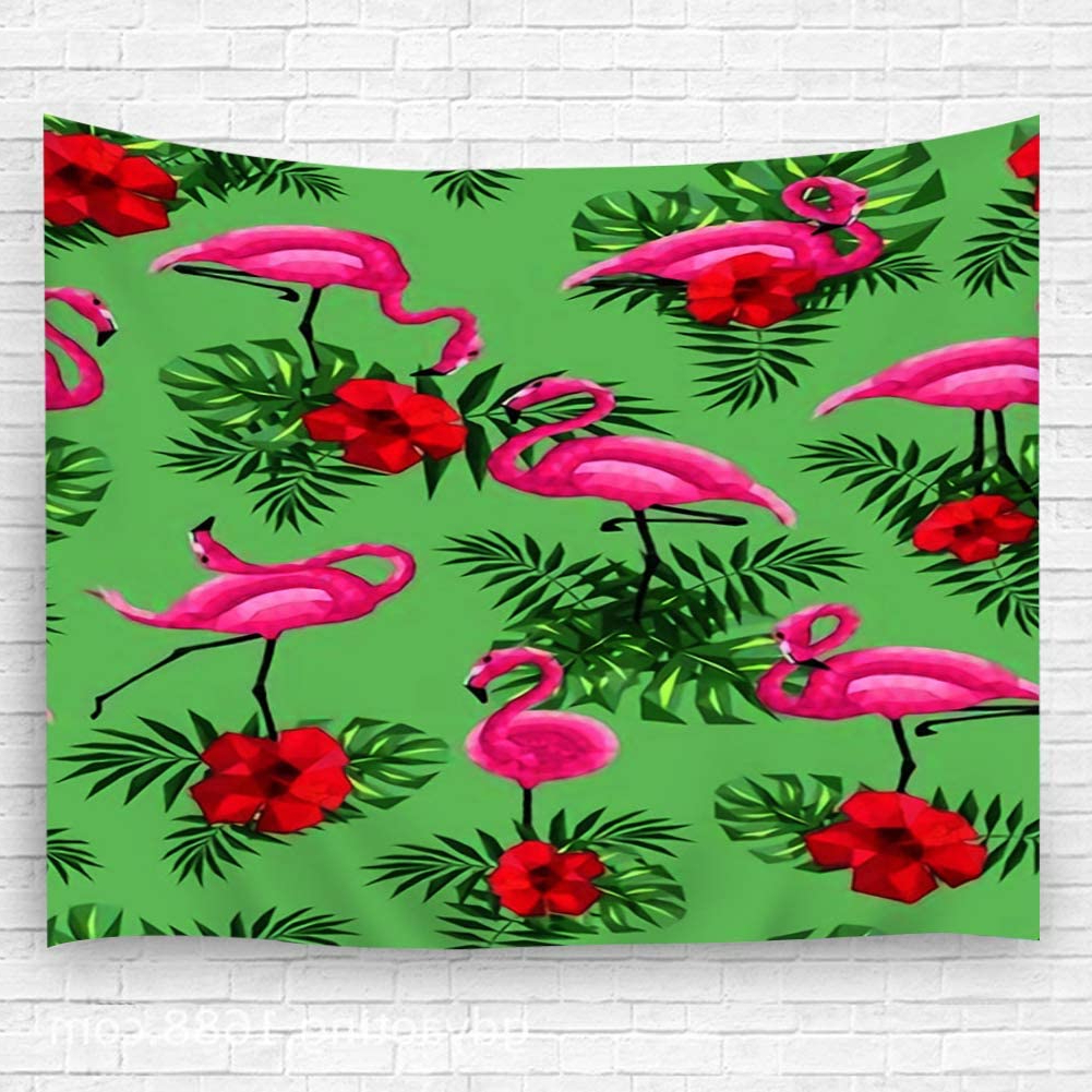 Amazon: Txregxy Wall Decor Blanket Wall Carpet Flamingo In Best And Newest Blended Fabric Leaves Wall Hangings (View 14 of 20)