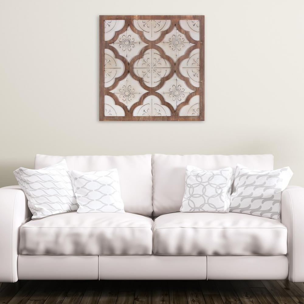 Antique Iron Alloy Wall Décor With Regard To 2019 Pinnacle Metal And Wood Antique White Quatrefoil Medallion Framed Wall Art 1807 3866 – The Home Depot (View 16 of 20)