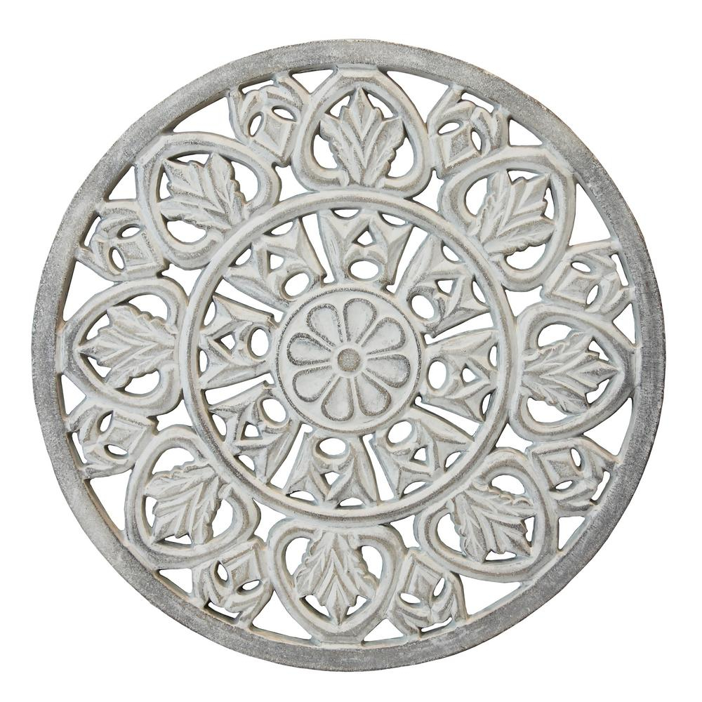 Arthouse White Washed Wooden Medallion Wall Art 5218 – The Home Depot In Current European Medallion Wall Décor (View 14 of 20)