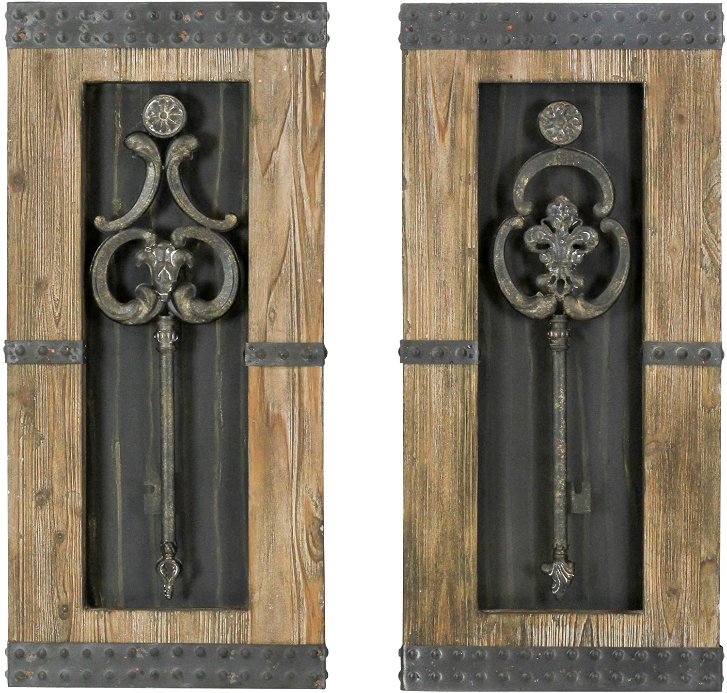 Aspire 68402 Antique Key Wood Wall Decor Set Of 2 In Most Current Key Wall Décor (set Of 2) (View 4 of 20)