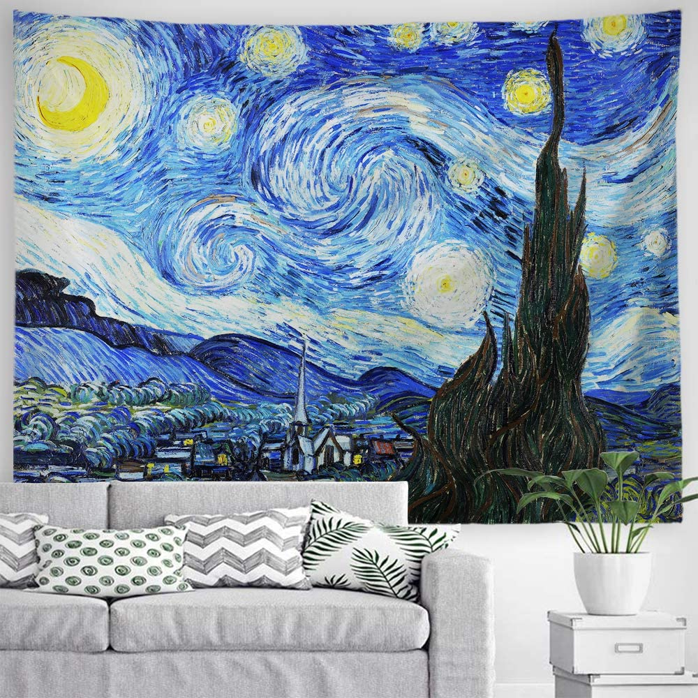 Baccessor Vincent Van Gogh Tapestry Wall Hanging Starry Night Oil Painting Abstract Art Rustic Home Decor For Living Room Bedroom College Dorm Intended For Most Current Blended Fabric Van Gogh Starry Night Over The Rhone Wall Hangings (View 17 of 20)