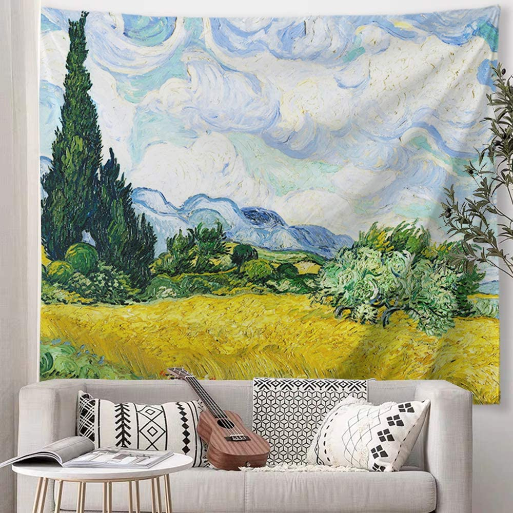 "Baccessor Vincent Van Gogh Wall Tapestry Green Wheat Fields Oil Painting Wall Hanging Art Home Decor For Living Room Bedroom Bathroom Dorm, 80"" W X In Best And Newest Blended Fabric Van Gogh Starry Night Over The Rhone Wall Hangings (View 19 of 20)"
