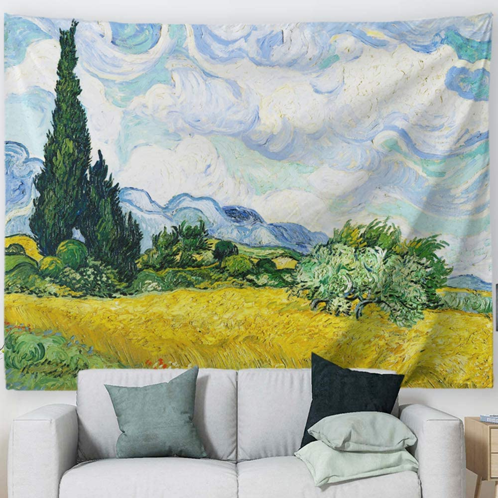 "Baccessor Vincent Van Gogh Wall Tapestry Green Wheat Fields Oil Painting Wall Hanging Art Home Decor For Living Room Bedroom Bathroom Dorm, 80"" W X Pertaining To Most Up To Date Blended Fabric Van Gogh Terrace Wall Hangings (View 12 of 20)"