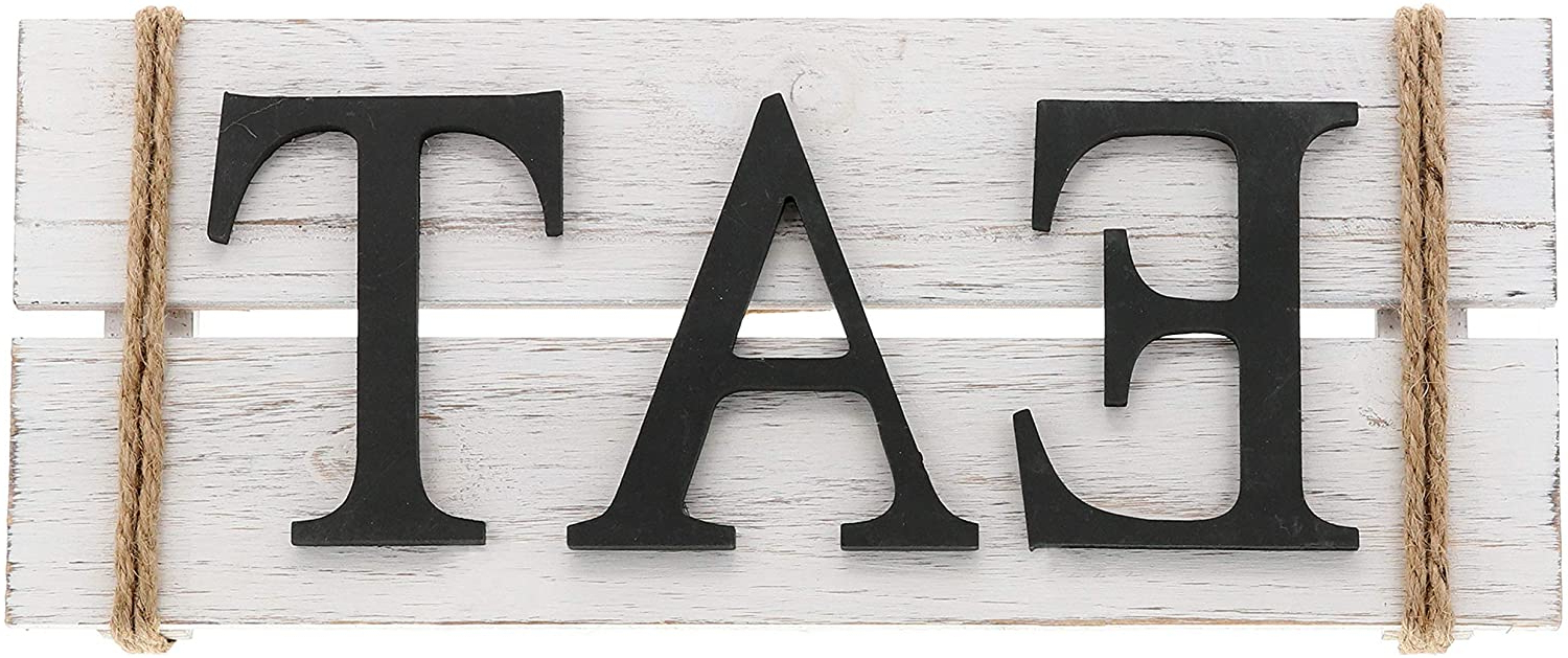 "Barnyard Designs Eat Wood Wall Art Sign, Rustic Primitive Farmhouse Country Kitchen And Home Wall Decor, White/black, 17"" X 7"" Within Most Current Eat Rustic Farmhouse Wood Wall Décor (View 5 of 20)"