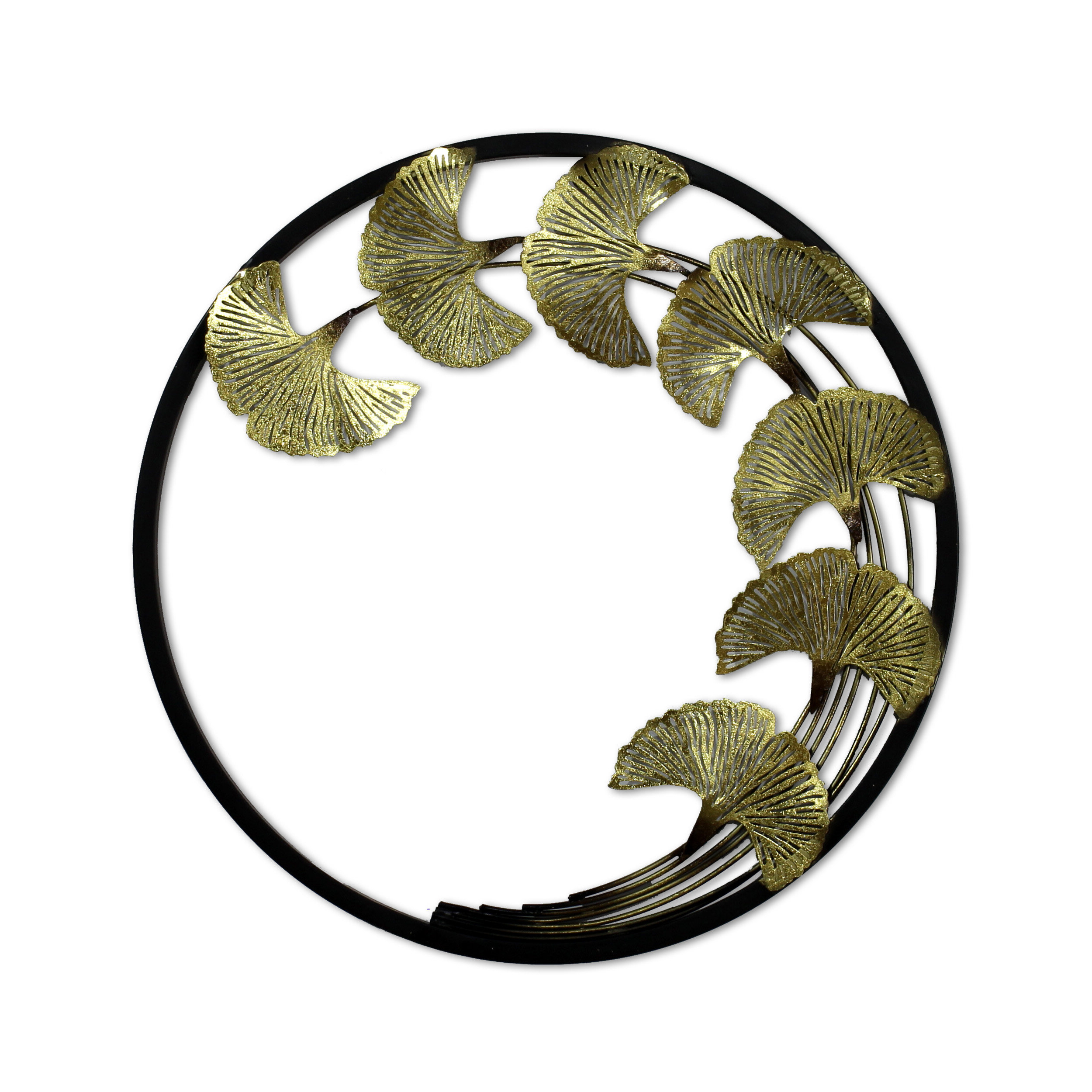 Believe Metal Wall Décor By Red Barrel Studio For Latest Red Barrel Studio Golden Leaves In Black Ring Decorative Metal Wall Sculpture Art Handging Décor (View 4 of 20)
