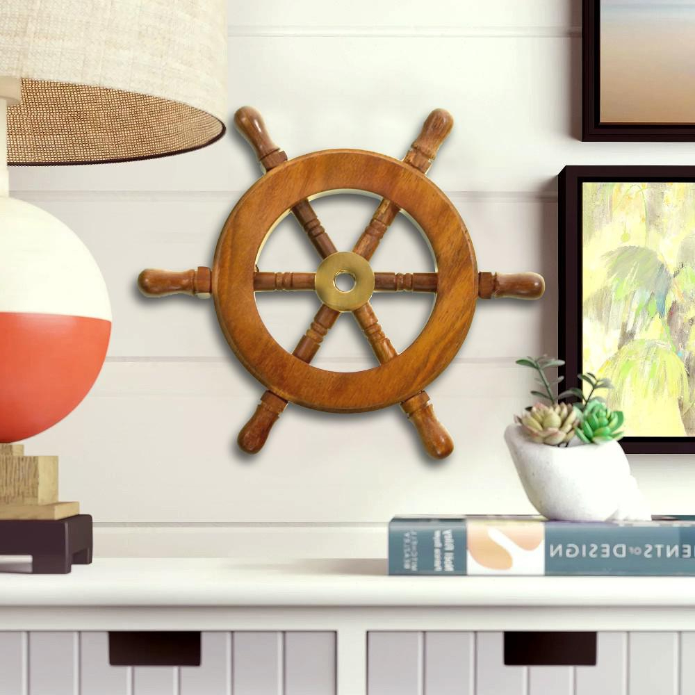 Featured Photo of Brown/Brass Wood Ship Wheel Wall Décor