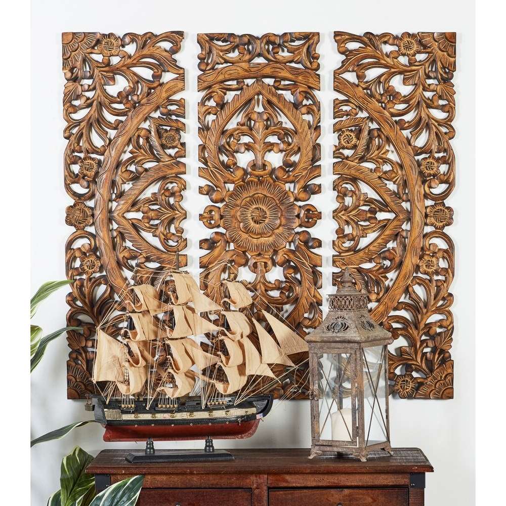 Best And Newest 3 Piece Carved Ornate Wall Décor Set With Blue/brown Wash Tree Of Life Carved Wood Wall Hanging (View 20 of 20)
