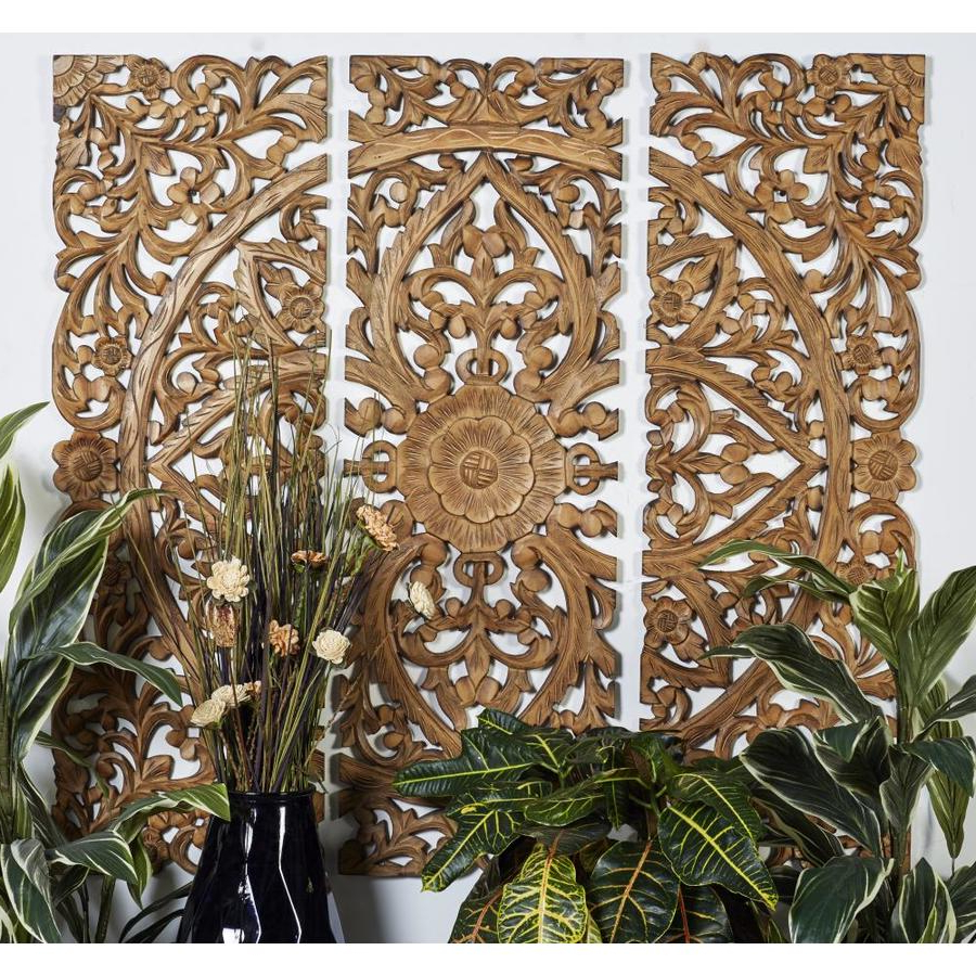 Best And Newest 3 Piece Carved Ornate Wall Décor Set Within Grayson Lane 24 X 71 Large Hand Carved Wood Wall Panels With (View 19 of 20)