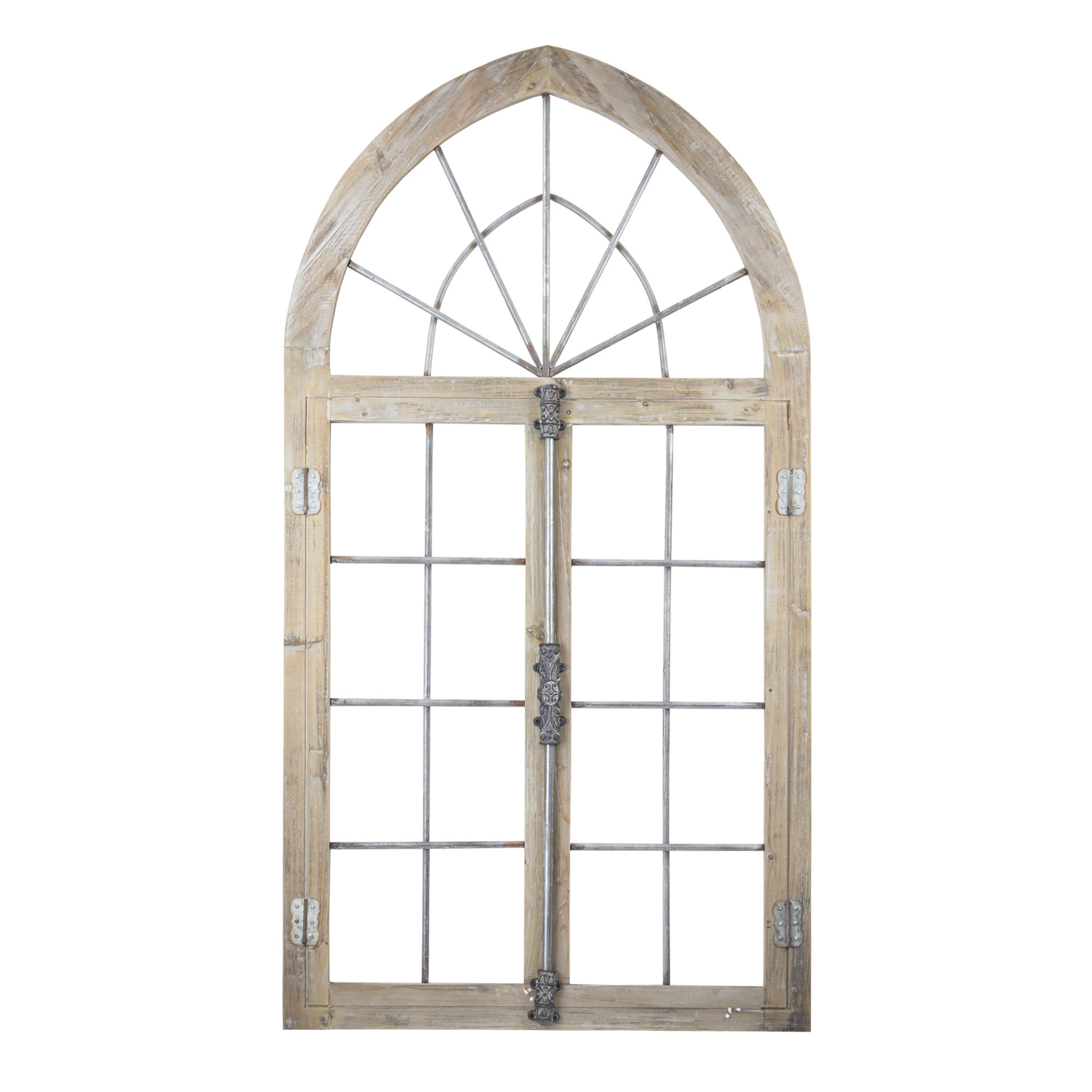 Best And Newest Arch Wall Décor By One Allium Way With Farmhouse Wood And Metal Arched Window Door Wall Decor (View 10 of 20)