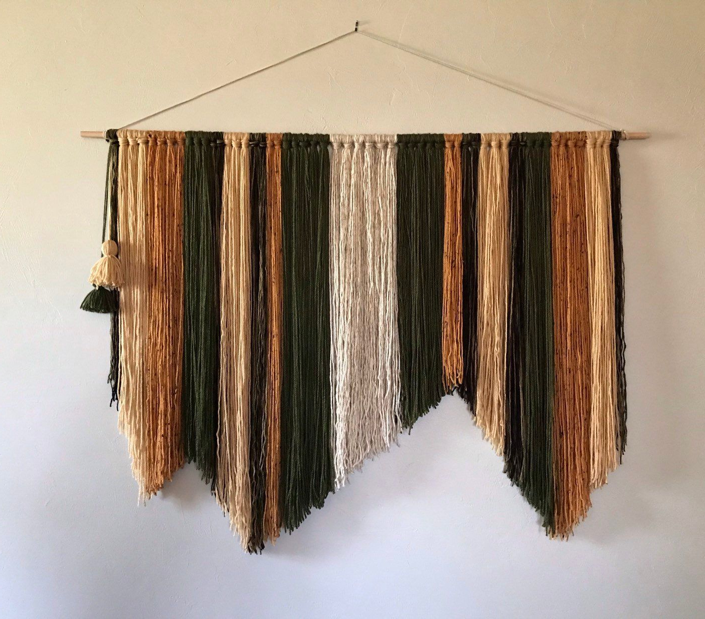 Best And Newest Asymmetrical Bohemian Mcm Yarn Tapestry Wall Hanging Green Regarding Blended Fabric Wall Hangings With Rod Included (View 16 of 20)