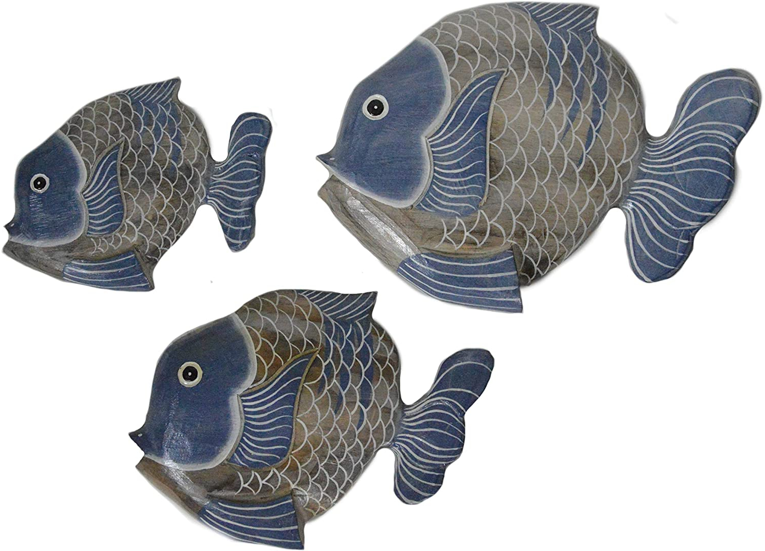 Best And Newest Beautiful Unique Set Of 3 Wooden Fish Hanging Wall Art Hand Carved Statue Sculpture For Handcrafted Hanging Fish In Net Wall Décor (View 18 of 20)