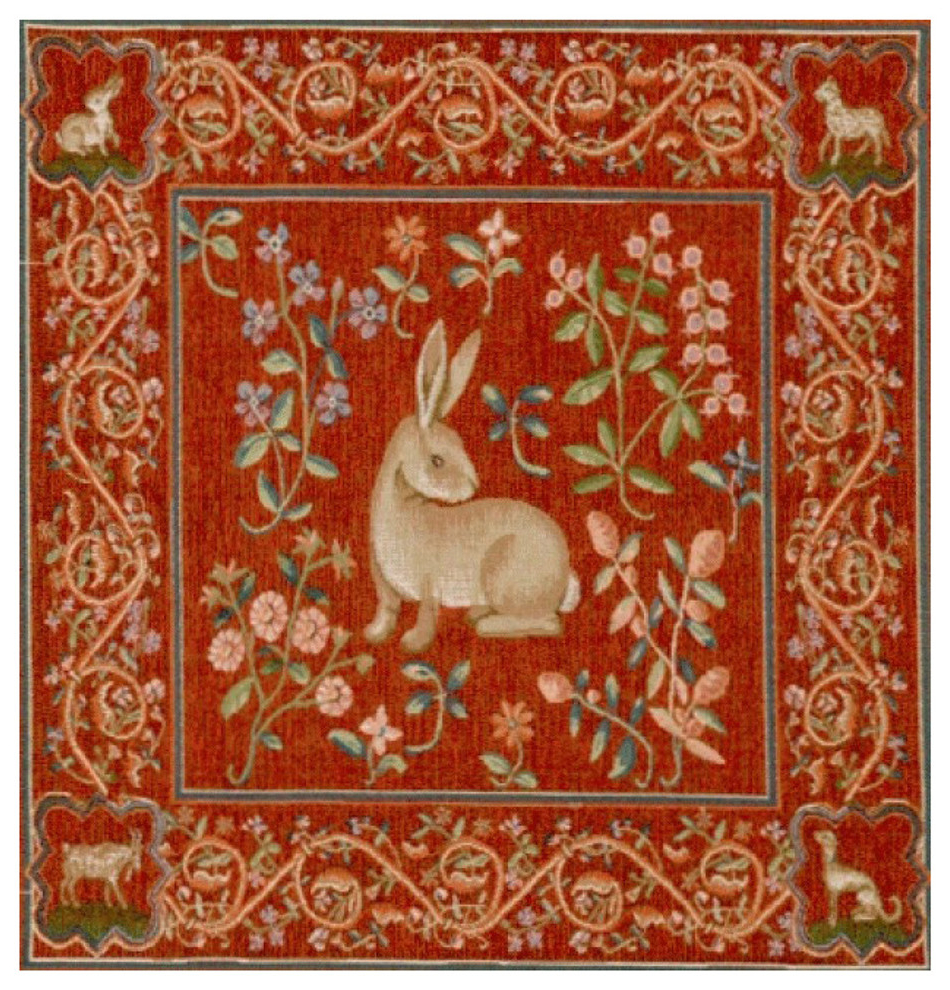 """Best And Newest Birds Face To Face I European Tapestries Throughout Medieval Rabbit I European Cushion, Wall Tapestry, 19""""x19"""" (View 3 of 20)"""