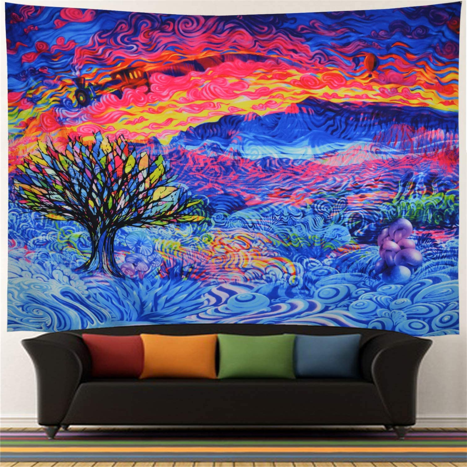Best And Newest Blended Fabric Living Life Tapestries Intended For Tree Of Life Tapestry Colorful Tree Tapestry Psychedelic Tapestry Trippy Tree Wall Art Tapestry Wall Hanging For Bedroom Living Room Dorm (x Large, (View 13 of 20)