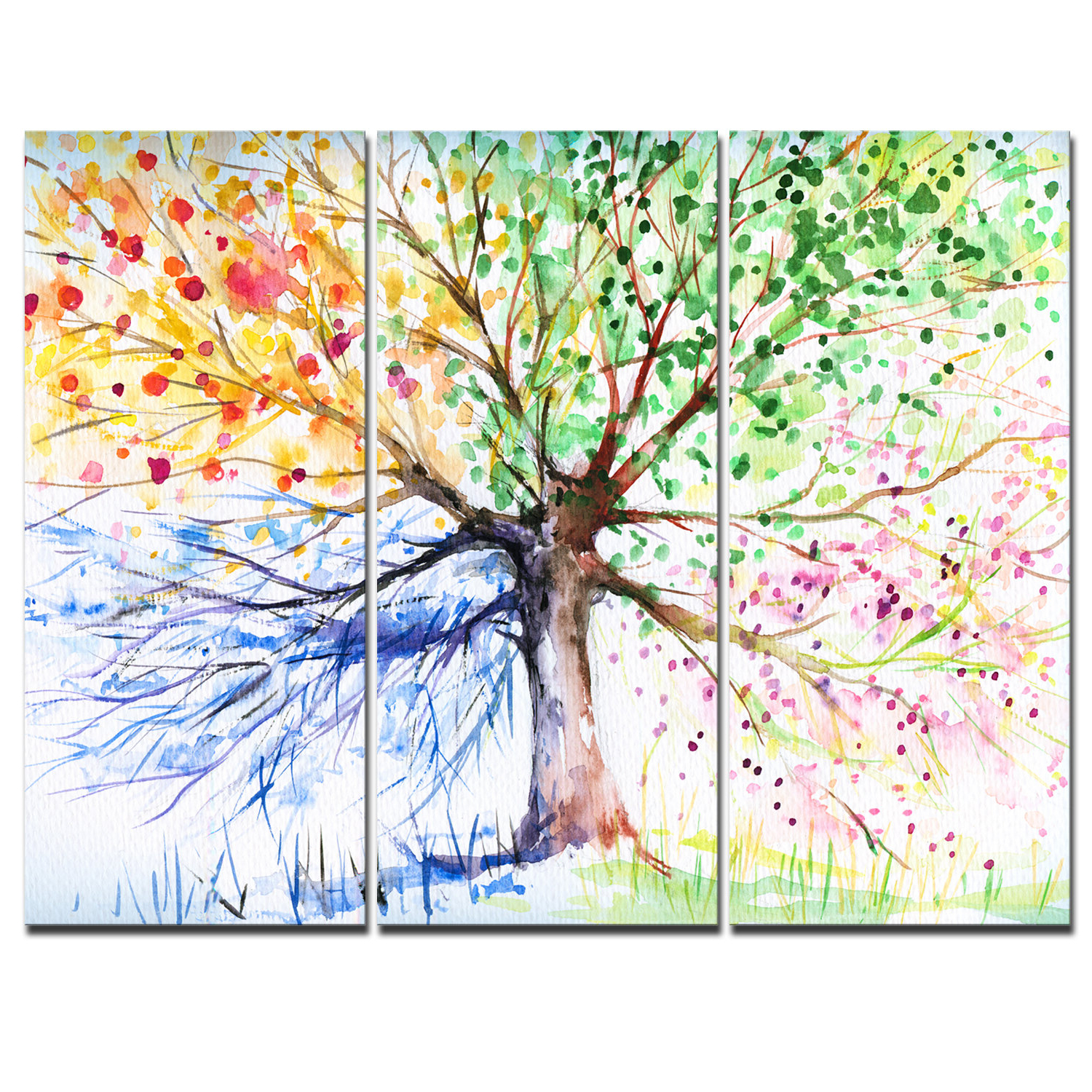 Best And Newest 'four Seasons Tree' 3 Piece Graphic Art On Wrapped Canvas Set Pertaining To Tree Wall Décor By Winston Porter (View 14 of 20)