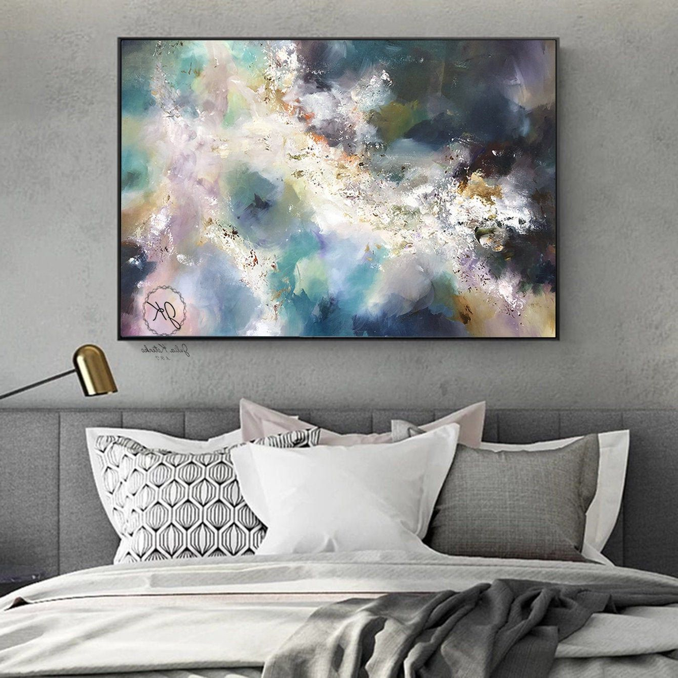 Best And Newest Large Wall Art Bedroom Above Bed Abstract Oil Painting Regarding Blended Fabric Italian Wall Hangings (View 17 of 20)
