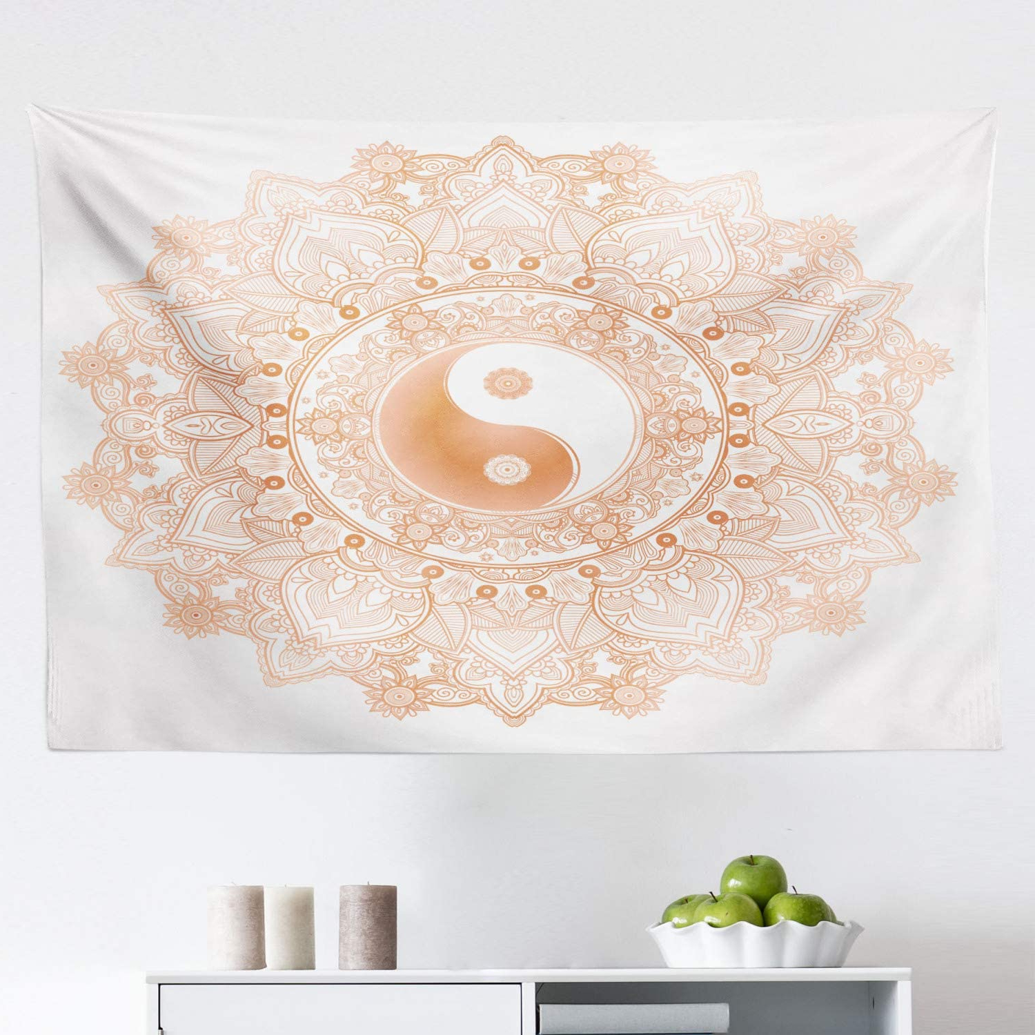 Best And Newest Lunarable Ying Yang Tapestry, Circle Yin Yang Mandala Unity And Peace In Opposites Retro Boho, Fabric Wall Hanging Decor For Bedroom Living Room Dorm, Intended For Blended Fabric Wall Hangings With Rod Included (View 17 of 20)