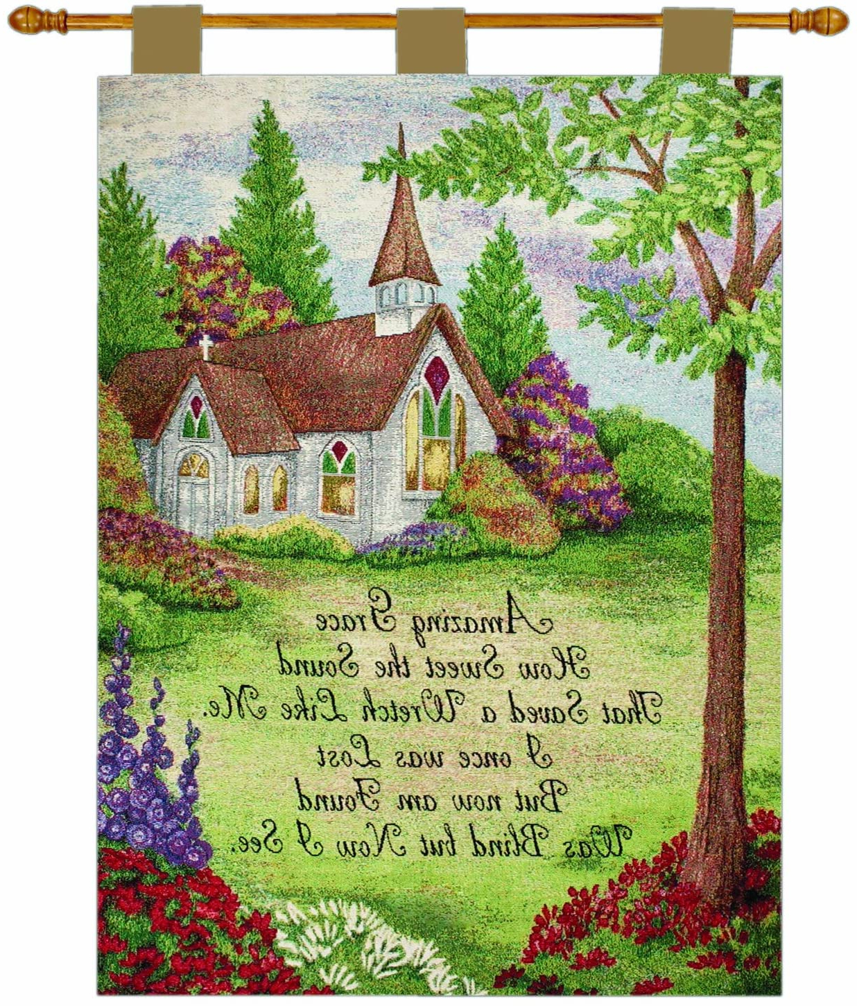Best And Newest Manual Inspirational Collection Wall Hanging And Finial Rod, Church In The Country With Versenicky Boehme, 26 X 36 Inch Within Blended Fabric Freedom Verse Tapestries And Wall Hangings (View 14 of 20)