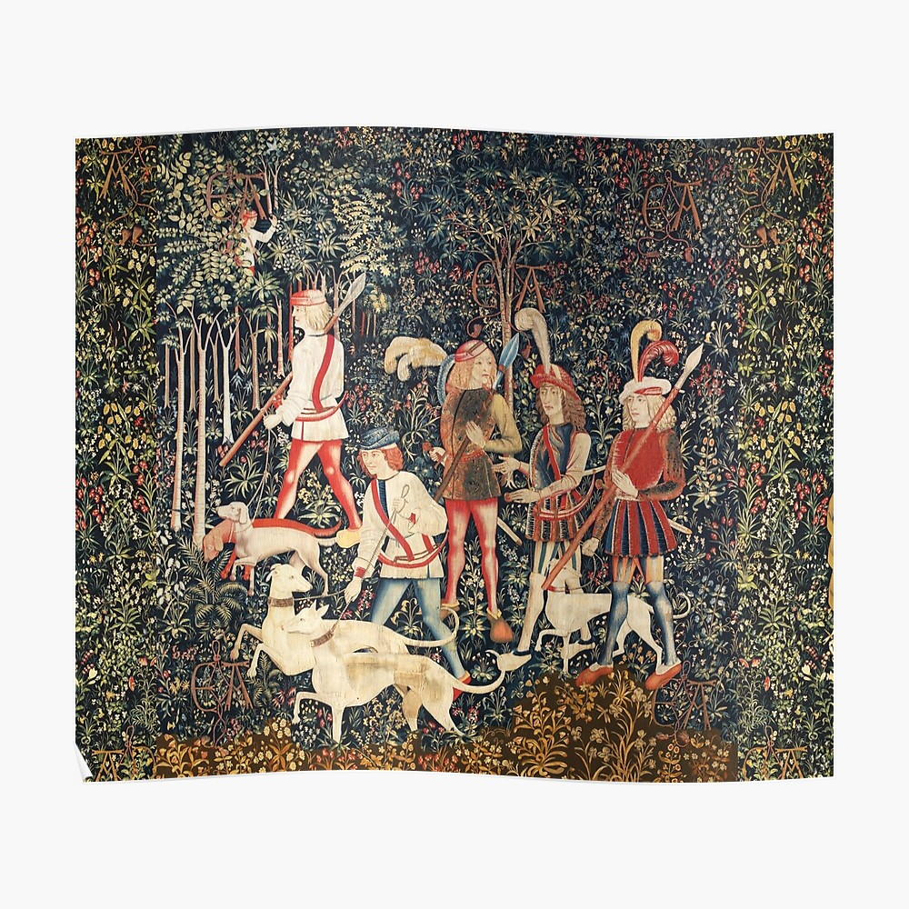 """Best And Newest Unicorn Hunters With Dogs Enter The Wood Green Floral"""" Mask With Blended Fabric Unicorn Captive And Unicorn Hunt Wall Hangings (View 19 of 20)"""