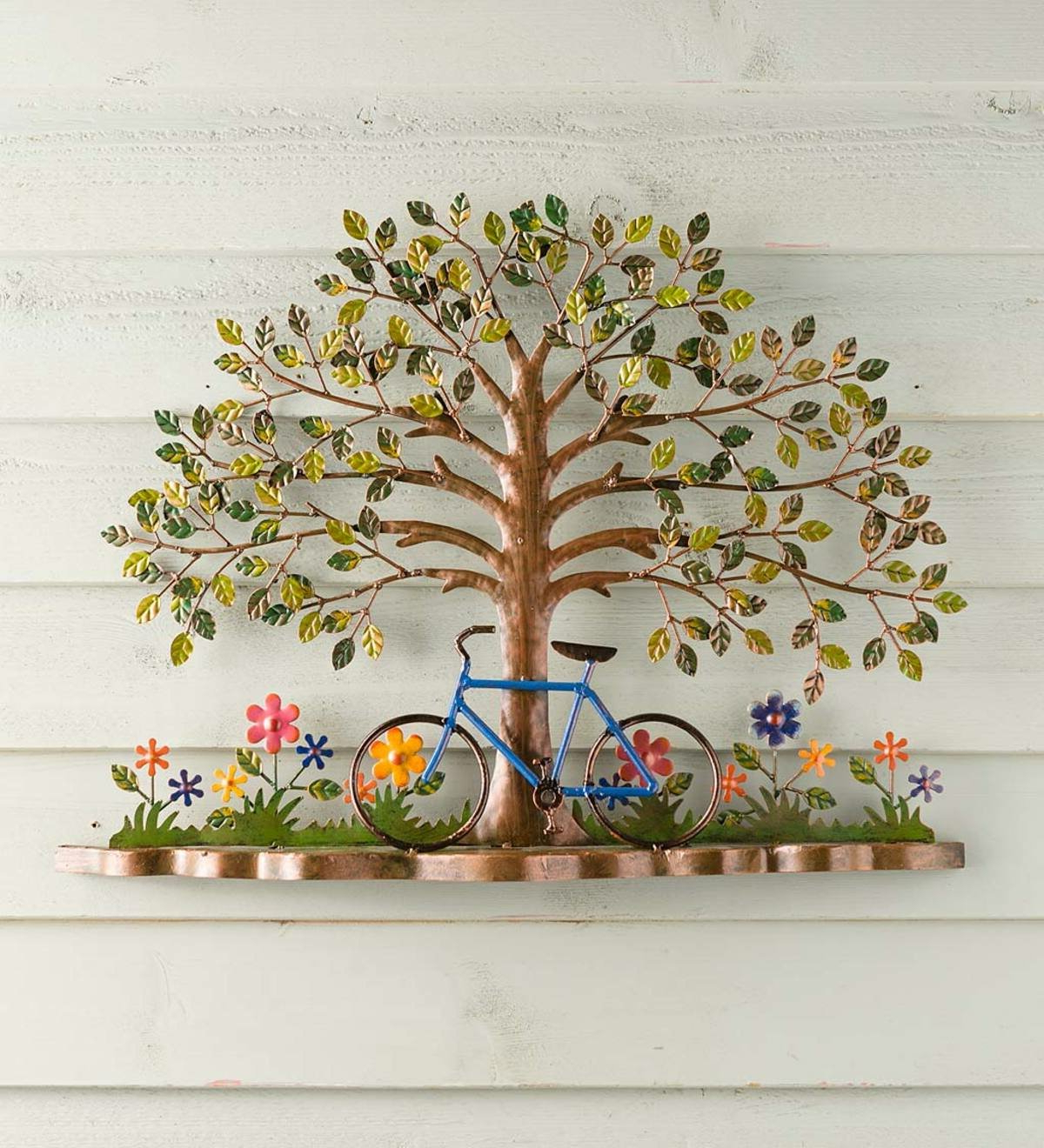 Bicycle And Tree Metal Wall Décor With Regard To Well Known Maria Metal Capiz Wall Décor (View 18 of 20)