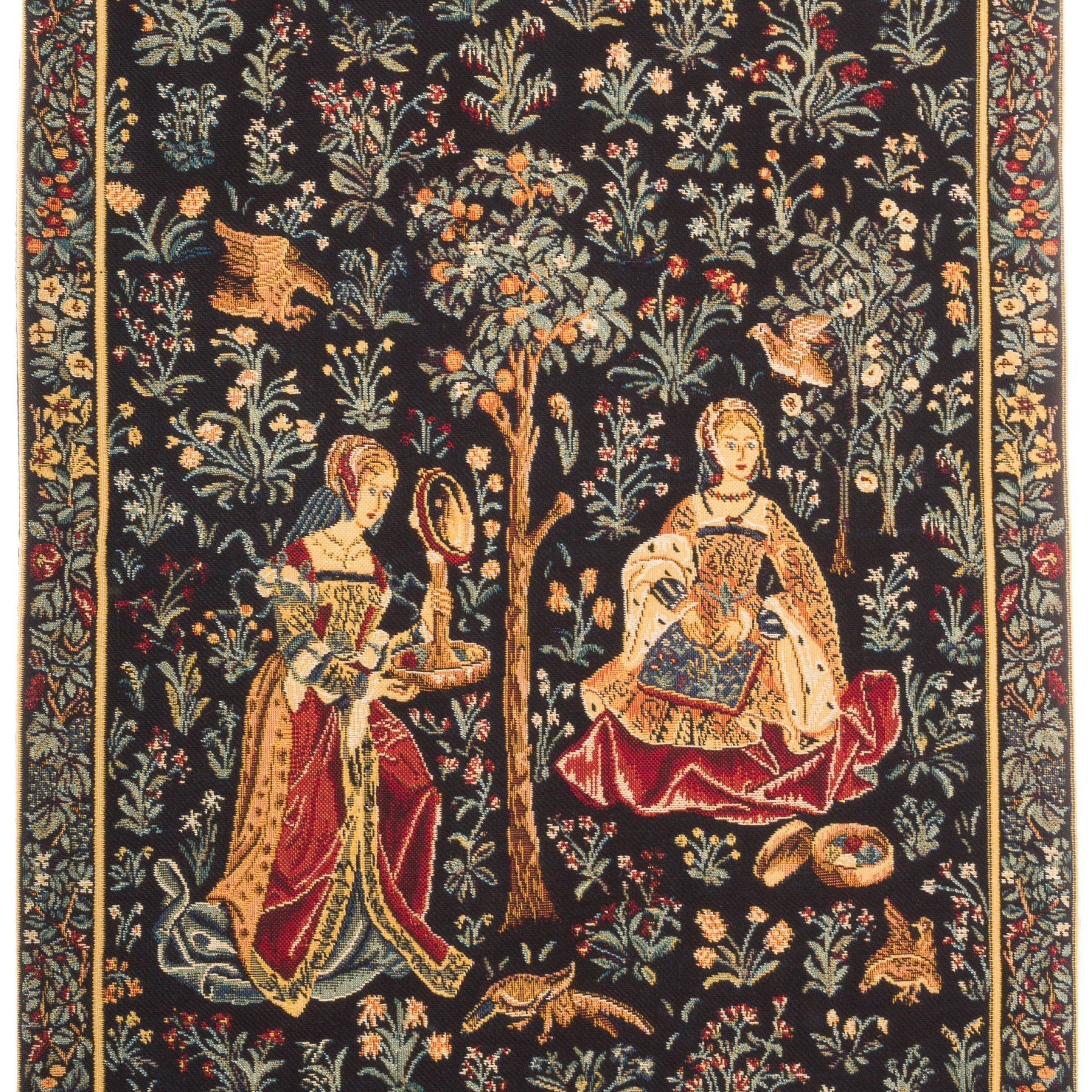 Birds Face To Face I European Tapestries With Recent Medieval Tapestry Wall Hanging – Embroidery Scene (View 4 of 20)