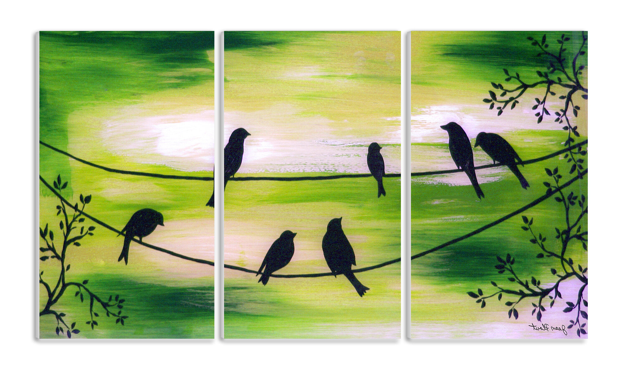 'birds On A Wire Triptych' 3 Piece Painting Print Wall Plaque Set With Regard To Best And Newest Birds On A Wire Wall Décor By Winston Porter (View 3 of 20)