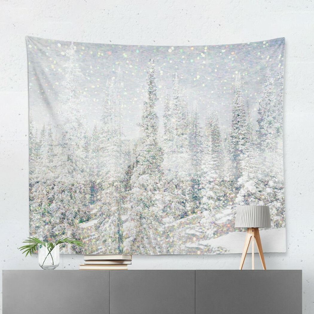 Blended Fabric Amazing Grace Wall Hangings Within 2019 'magic Snow Trees' Wall Tapestry (View 20 of 20)