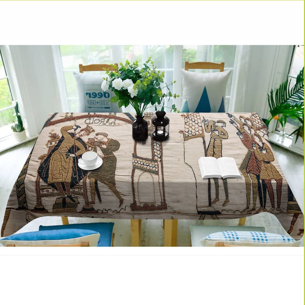 Blended Fabric Bayeux William Troops Wall Hangings For Well Known Bayeux Tablecloth Modern Decor Bayeux Tapestry Comet Polyester Fabric Table Cloths Dining Room Kitchen Rectangular Table Cover 60w X 84l Inches Blight (View 14 of 20)