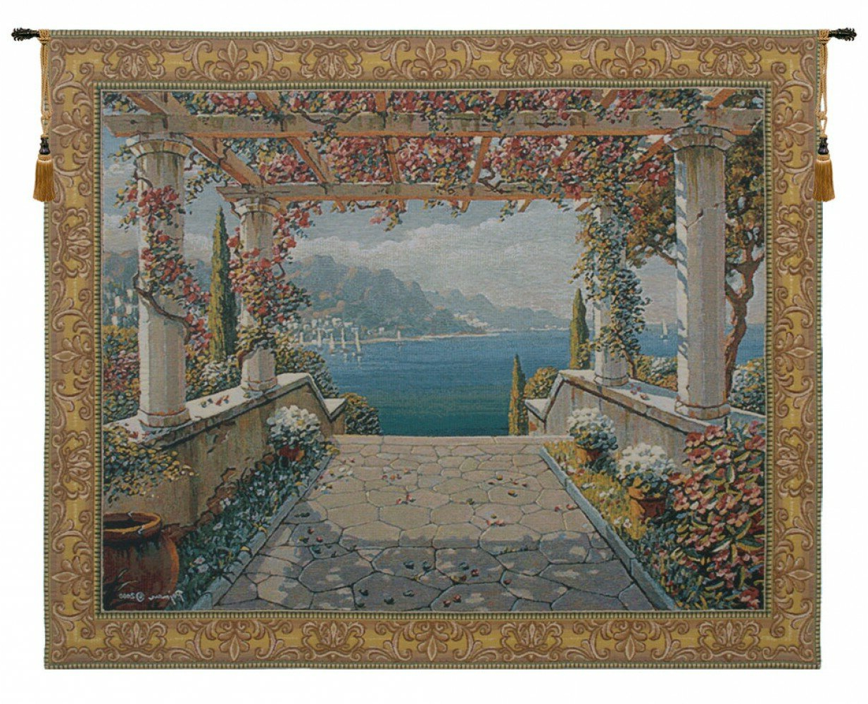 Blended Fabric Bellagio Scalinata Wall Hangings For Latest Amalfi Arbor Tapestry (View 6 of 20)