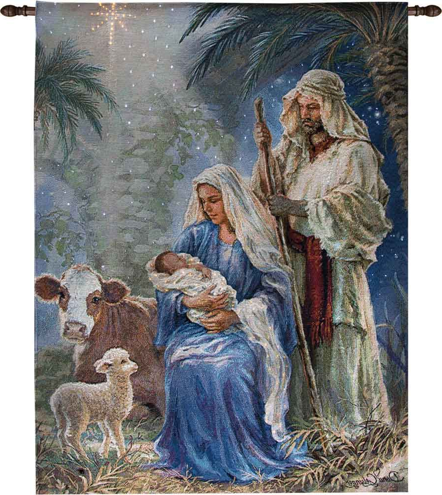 Blended Fabric Blessings Of Christmas Tapestries For Favorite Oh Holy Night Fiber Optic Tapestry – $75 – $149 Tapestries (View 6 of 20)