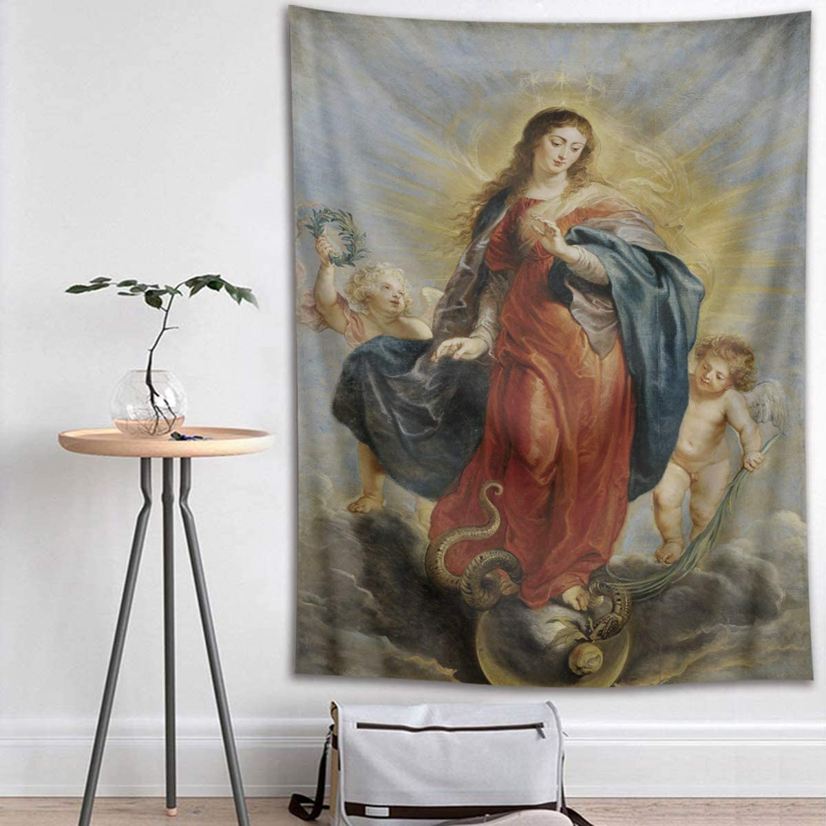 Blended Fabric Blessings Of Christmas Tapestries Intended For Favorite Amazon: Hvest Christian Tapestry Holy Virgin Mary And (View 4 of 20)