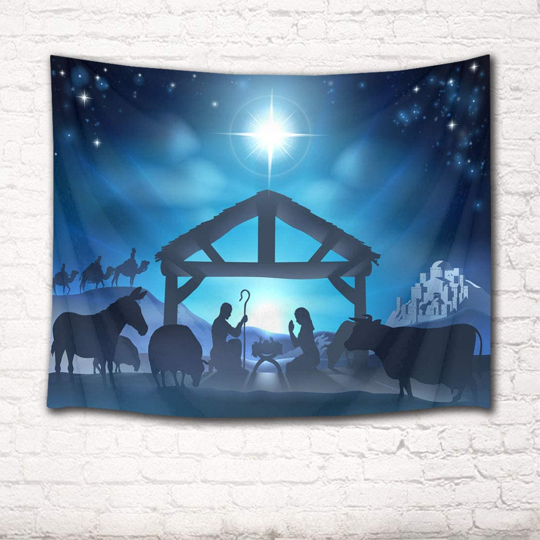 Blended Fabric Blessings Of Christmas Tapestries With Regard To Famous Lb Christmas Jesus Nativity Tapestry Wall Hanging Venus Star Birth Of Jesus Tapestry Wall Art Christian Tapestry For Bedroom Living Room Dorm Wall (View 3 of 20)