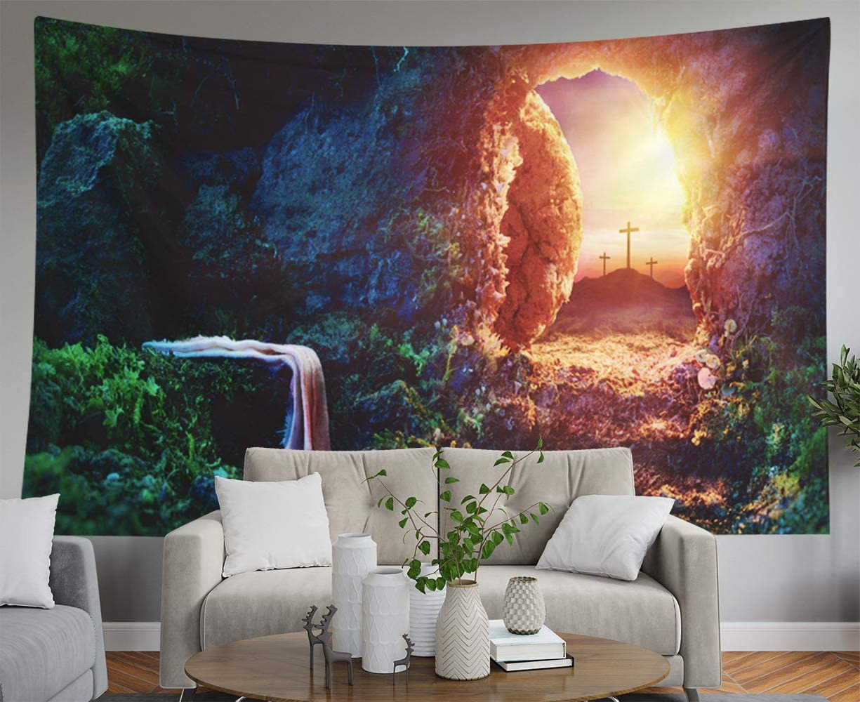 Blended Fabric Blessings Of Christmas Tapestries With Regard To Most Recently Released Asdecmoly Tapestry,wall Tapestry Wall Tapestry For Bedroom 60 Lx50 W Inches Crucifixion Empty Jesus Tomb Shroud Resurrection Tapestry Wall Hanging (View 17 of 20)