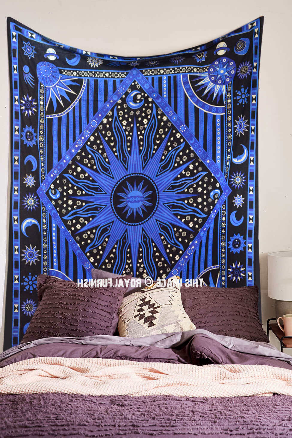 Blended Fabric Celestial Wall Hangings (set Of 3) In Most Current Blue Celestial Sun Moon Stars Planet Tapestry, Indian Hippie Wall Hanging (View 17 of 20)