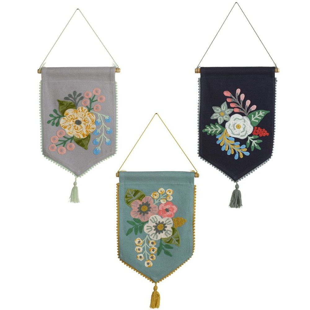 Blended Fabric Celestial Wall Hangings (set Of 3) Regarding Most Up To Date Set Of 3 Black, Grey And Blue Embroidered Floral Wall (View 2 of 20)