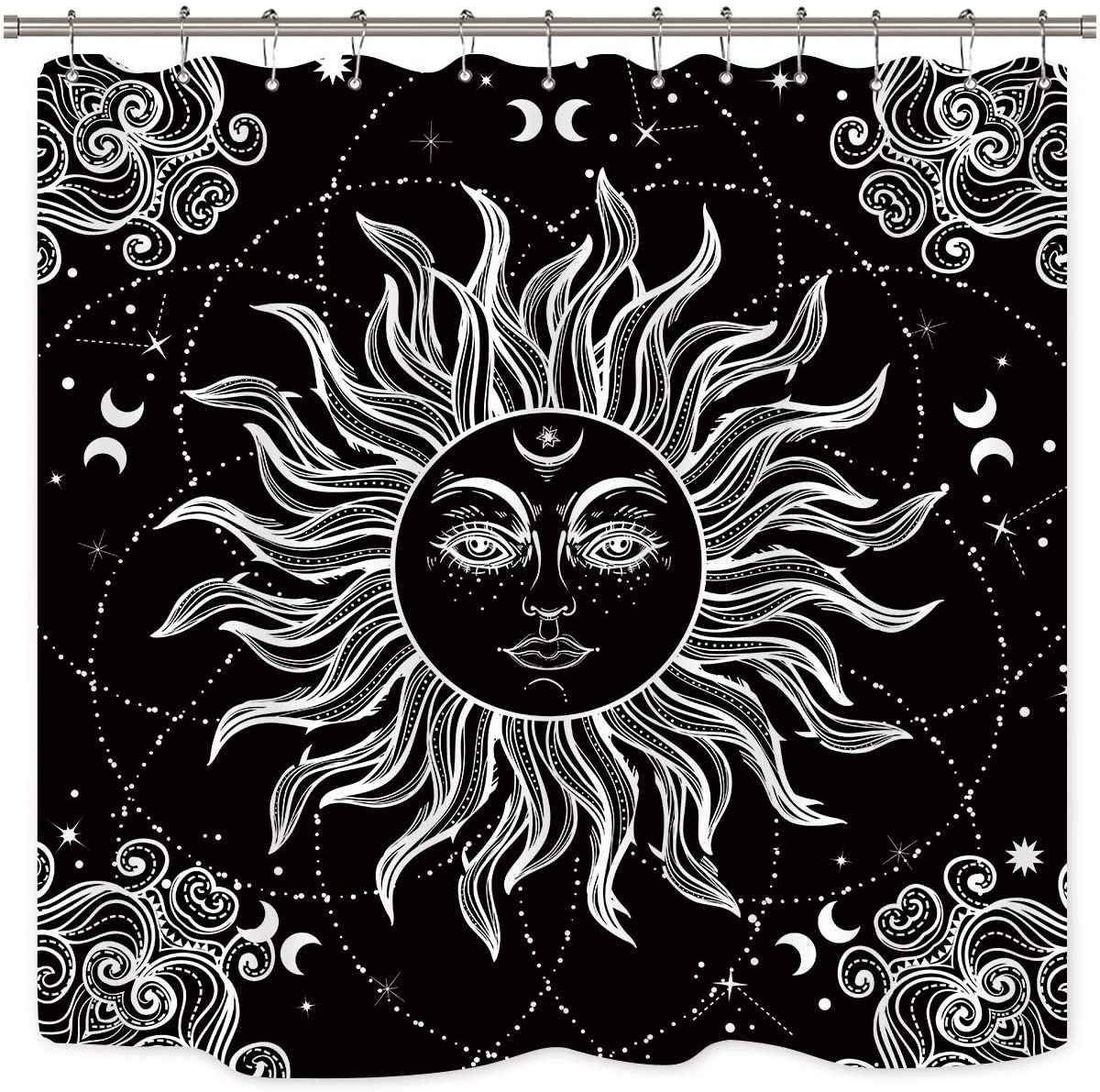 Blended Fabric Celestial Wall Hangings (set Of 3) With Latest Riyidecor Mandala Celestial Shower Curtain Sun Moon Black And White Decor Medallion Floral Fabric Set Polyester Waterproof 72x72 Inch 12 Pack Plastic (View 14 of 20)