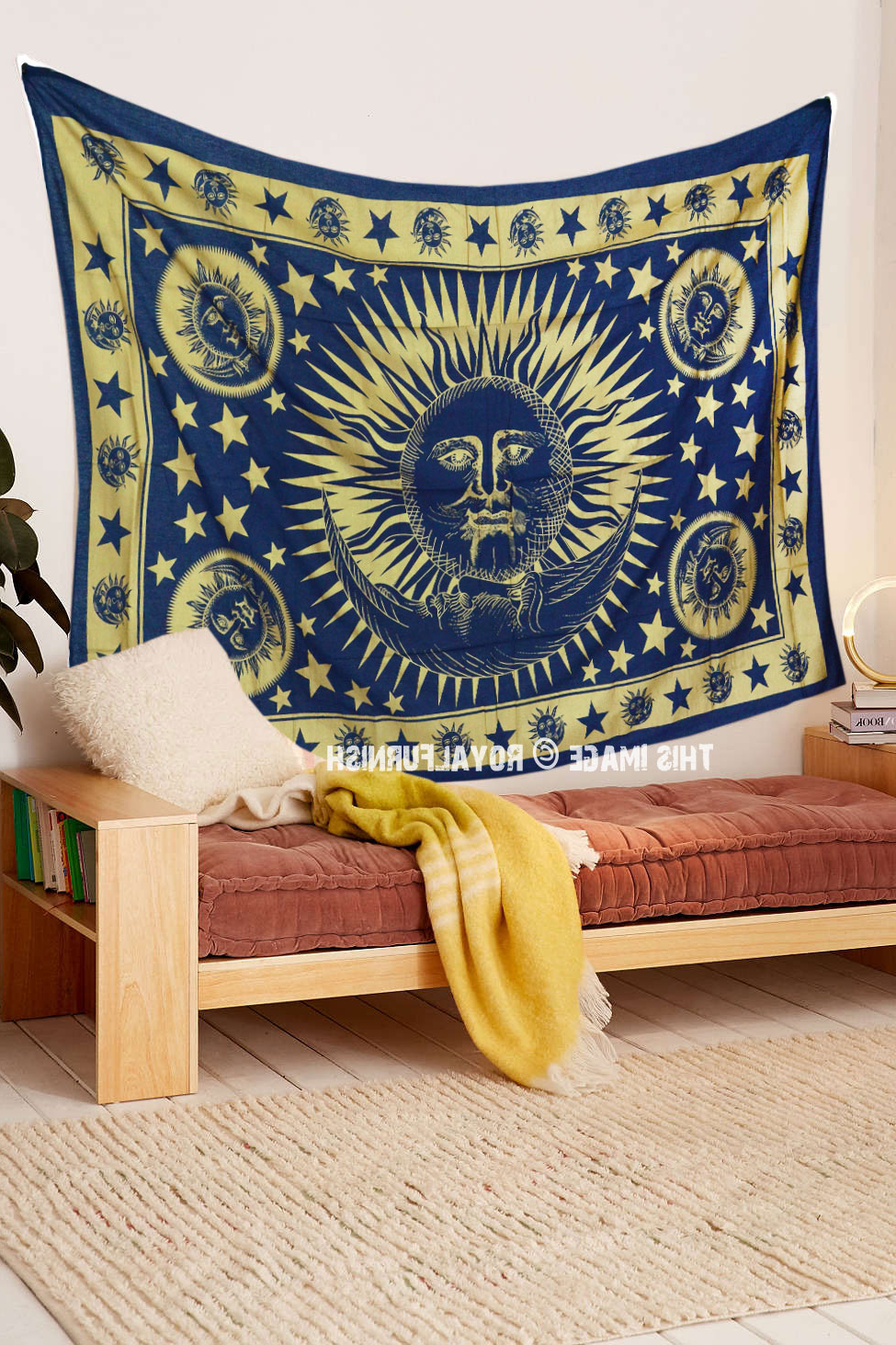 Blended Fabric Celestial Wall Hangings (set Of 3) With Regard To Well Liked Blue & Gold Celestial Sun Moon Tapestry Wall Hanging (View 13 of 20)