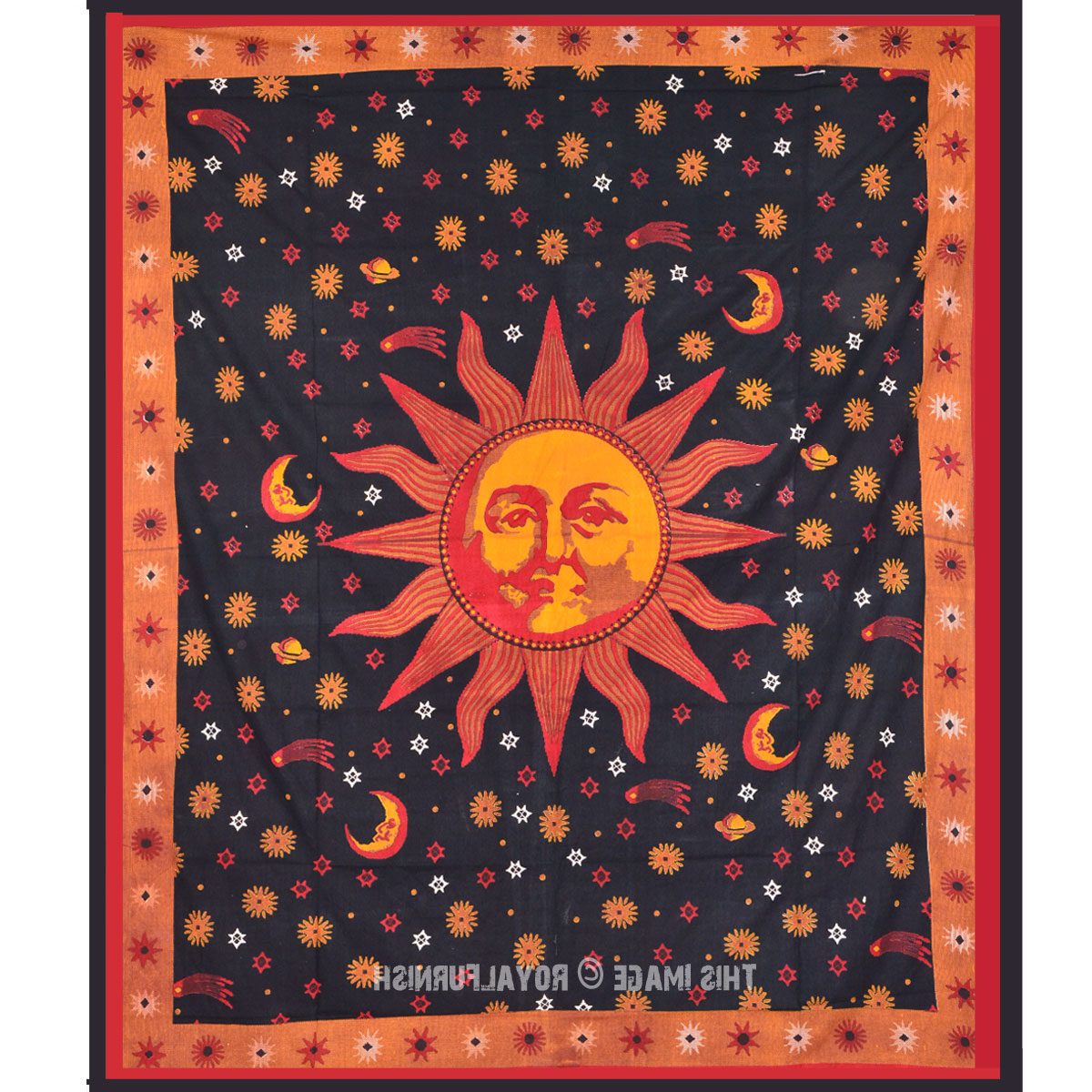 Blended Fabric Celestial Wall Hangings (set Of 3) Within Preferred Psychedelic Celestial Black Sun Moon Tapestry Wall Hanging (View 8 of 20)