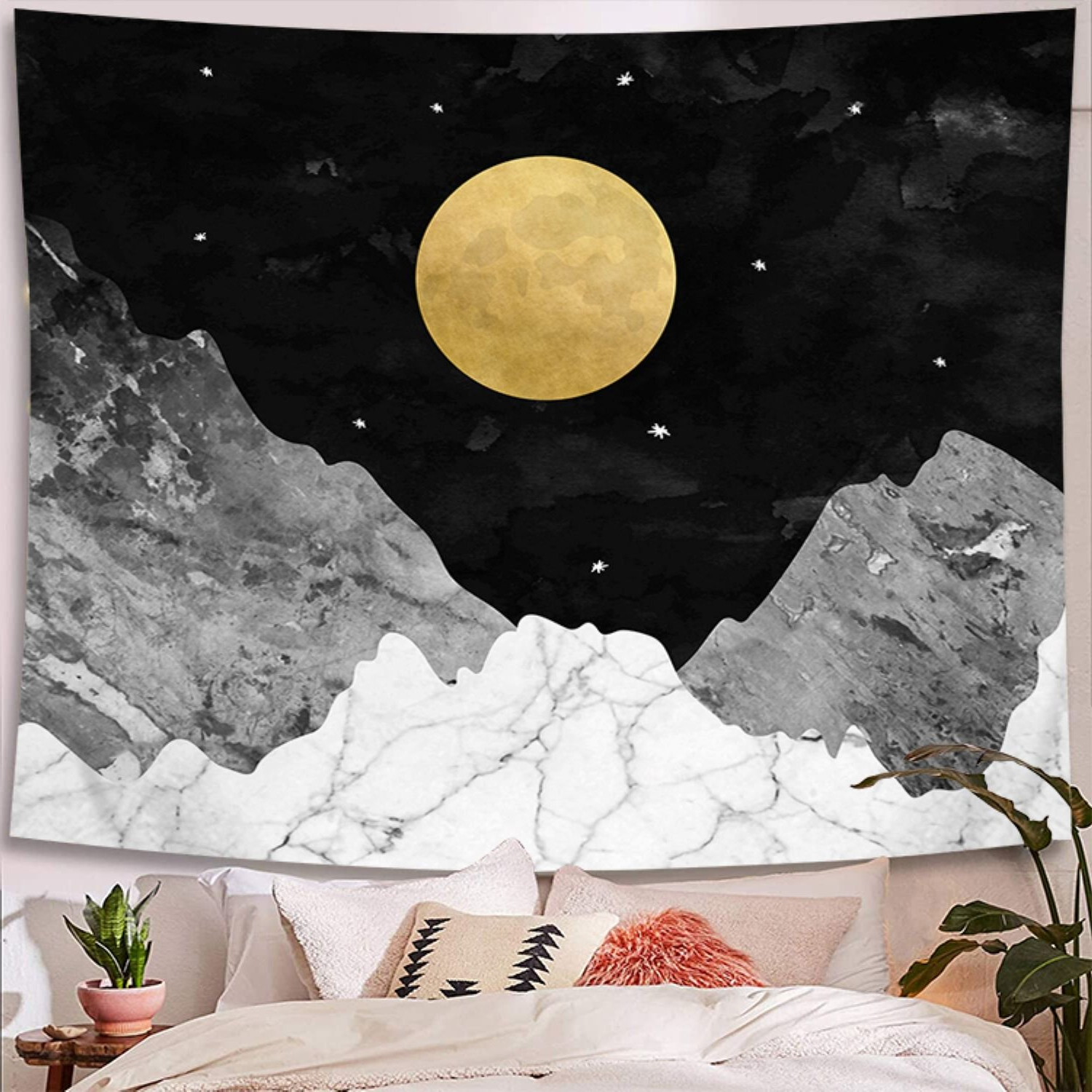 Blended Fabric Clancy Wool And Cotton Wall Hangings With Hanging Accessories Included Regarding Preferred Nightfall Moon Star And Mountain Polyester Tapestry With Hanging Accessories Included (View 18 of 20)