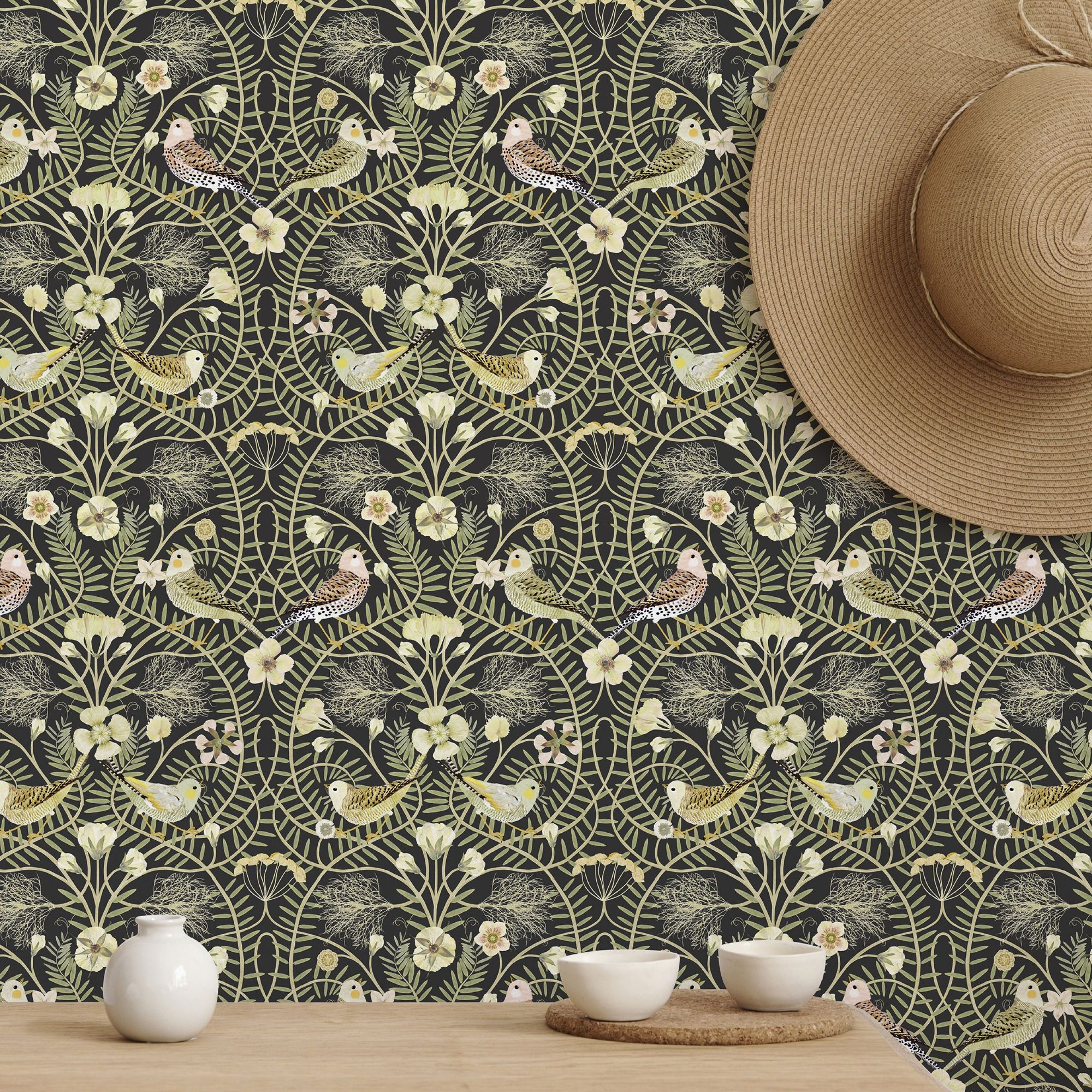 Blended Fabric Ethereal Days Chinoiserie Wall Hangings With Rod In Well Liked Birds Nest – Black – High Quality Personalised Wallpaper (View 18 of 20)